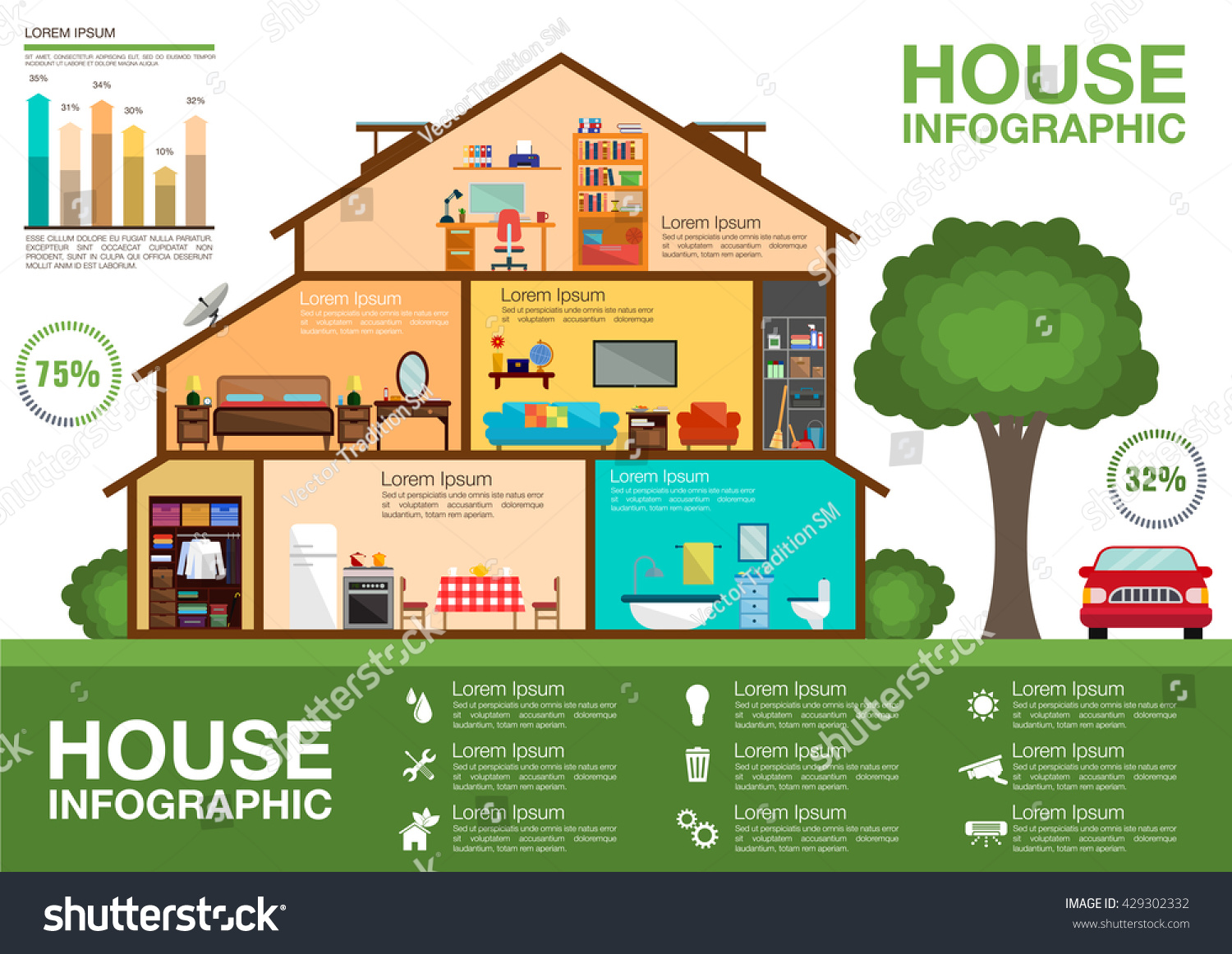 Eco Friendly Home Infographic Cutaway Diagram Stock Vector