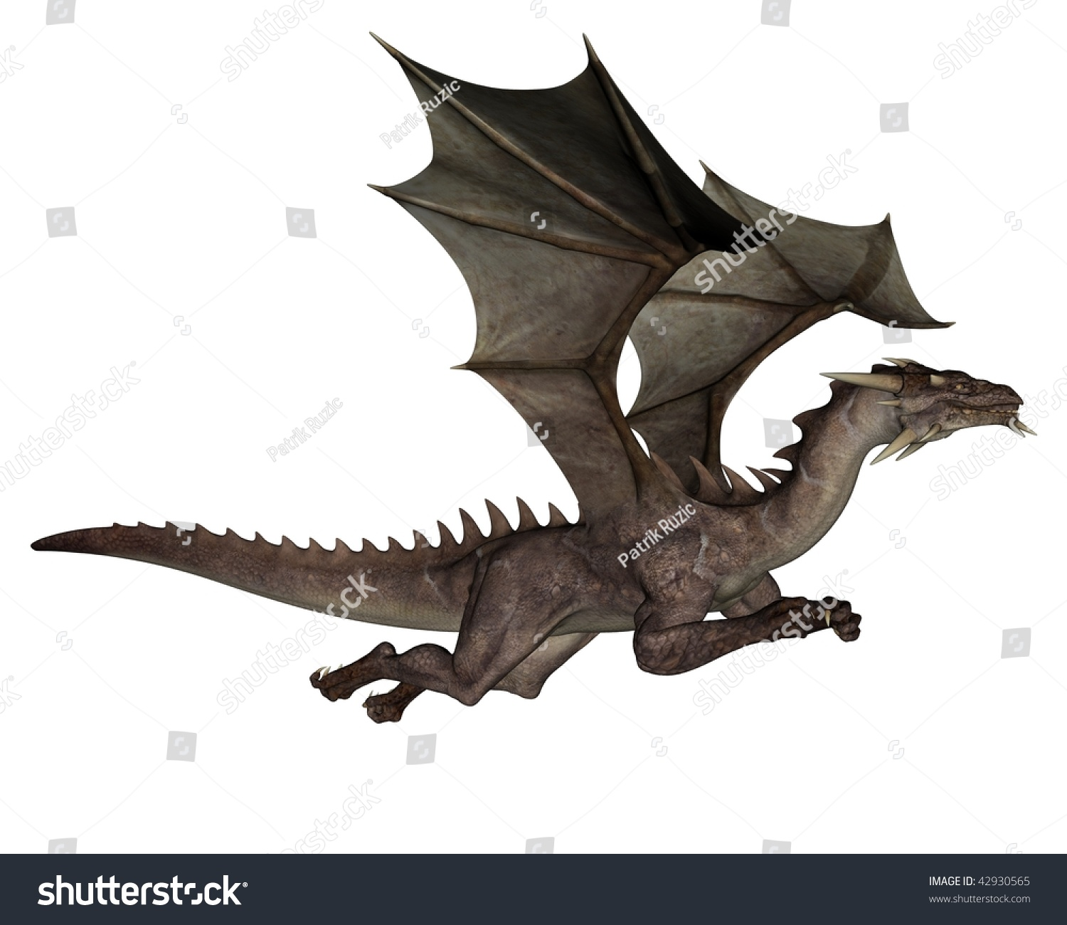 3d rendered flying dragon isolated on stock illustration