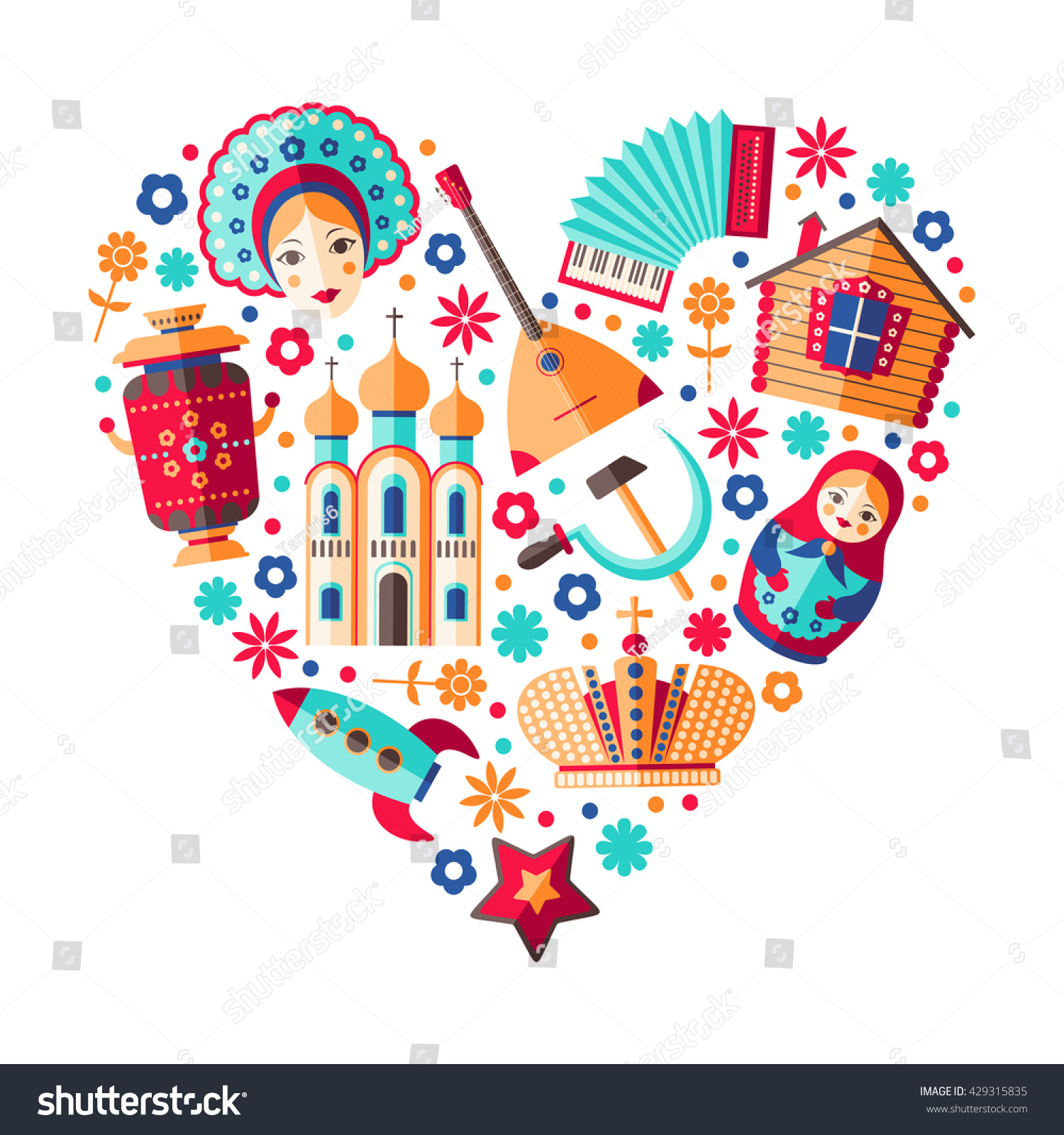 Vector Russia Travel Background Heart Shaped Stock Vector Royalty