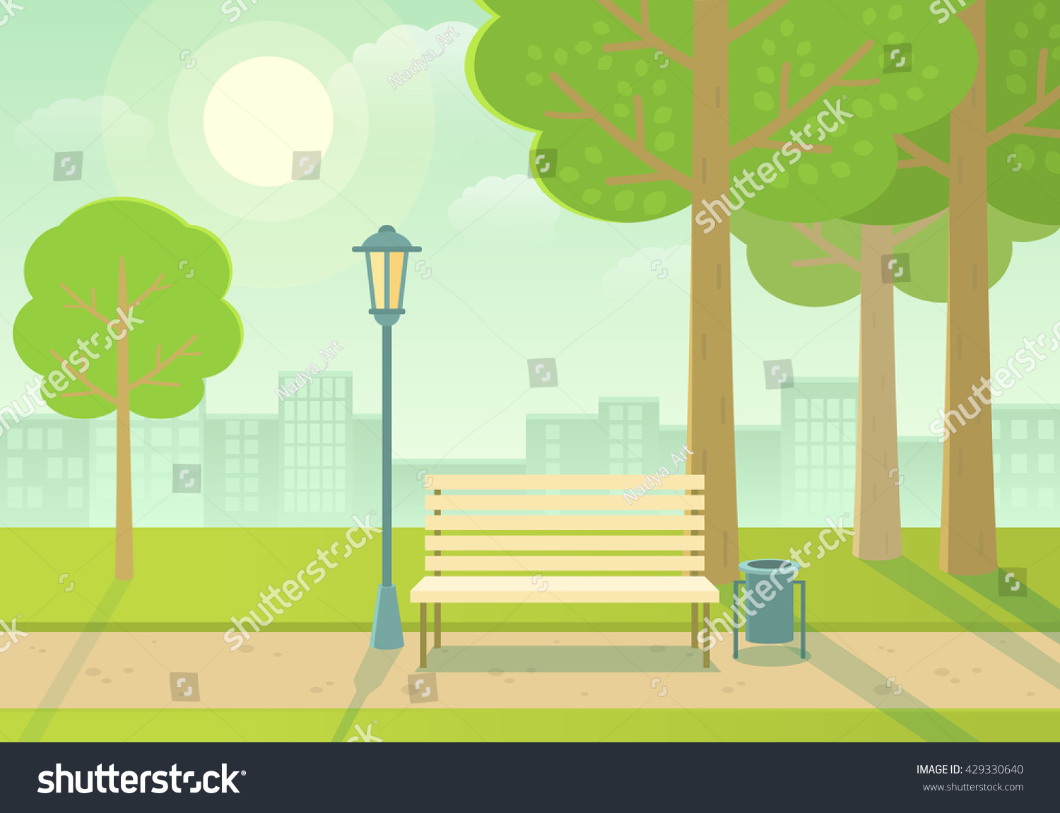 Vector illustration of a beautiful summer city park  with town building background. Evening in the park. #429330640