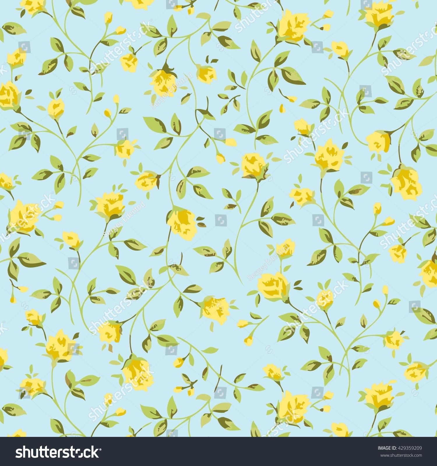 Wallpaper Vintage Yellow Flower Pattern Stock Illustration 429359209
