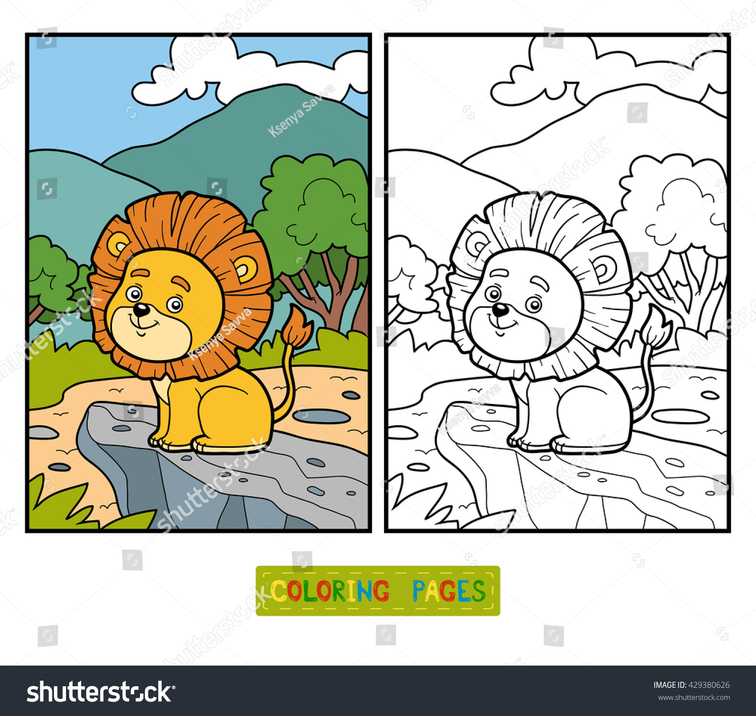 Coloring Book For Children Little Lion In Africa