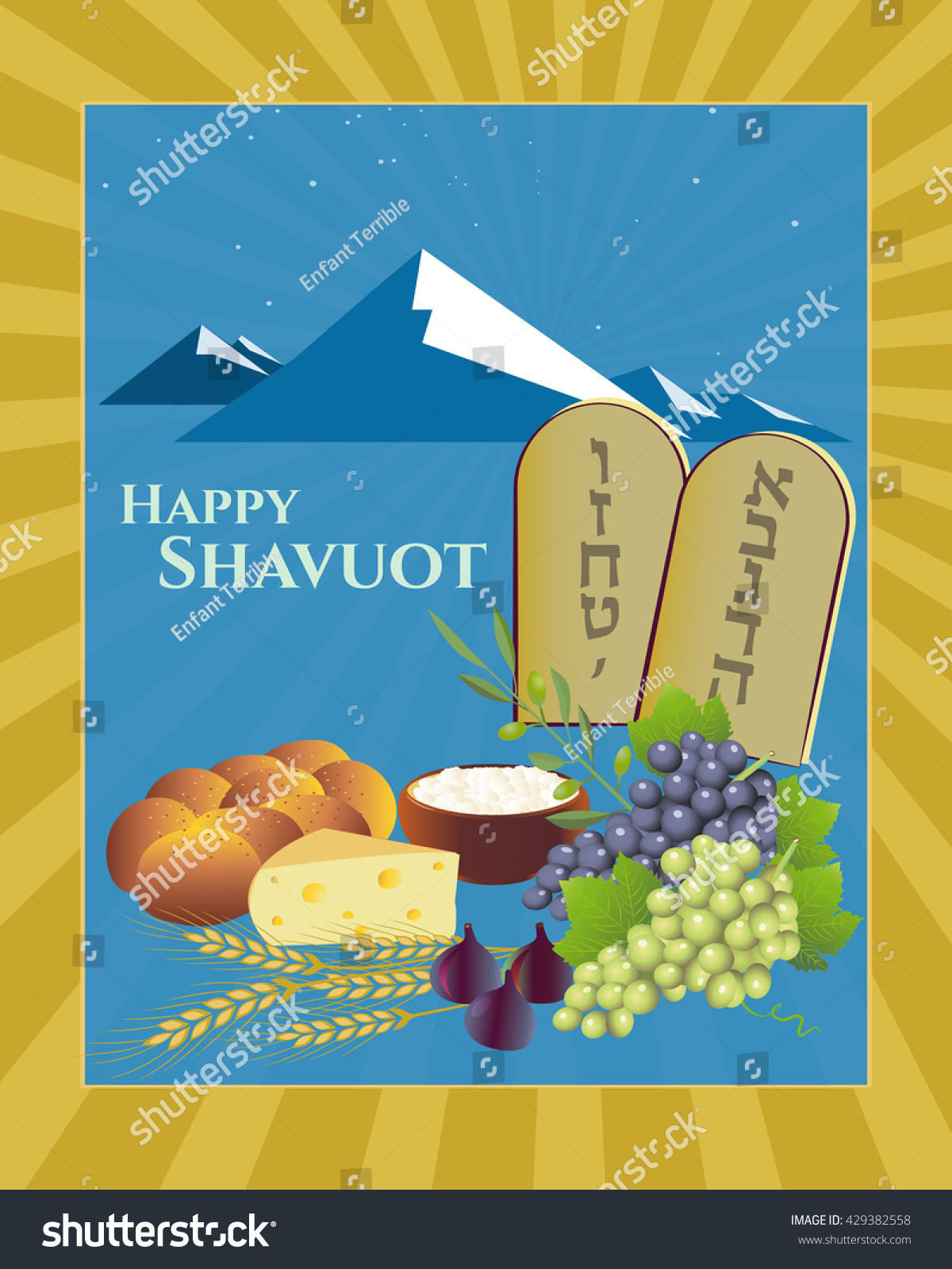 Shavuot Festival Greeting Card Design Vector Template Happy Torah Tablets With Hebrew