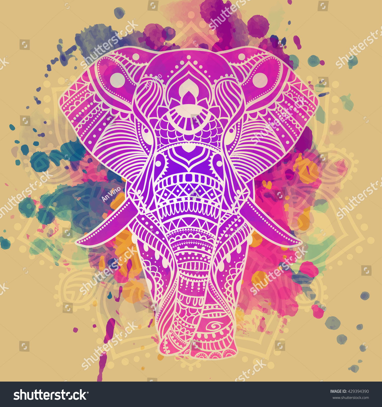 beautiful greeting card elephant frame animals stock vector
