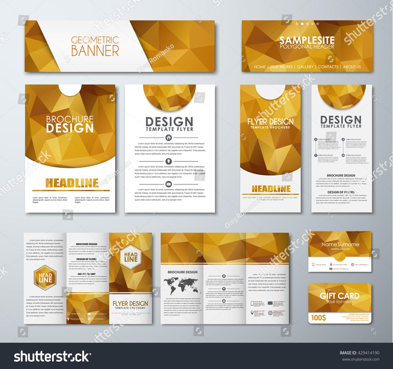 Templates Polygonal Golden Banners Flyers Gift Stock Vector ...