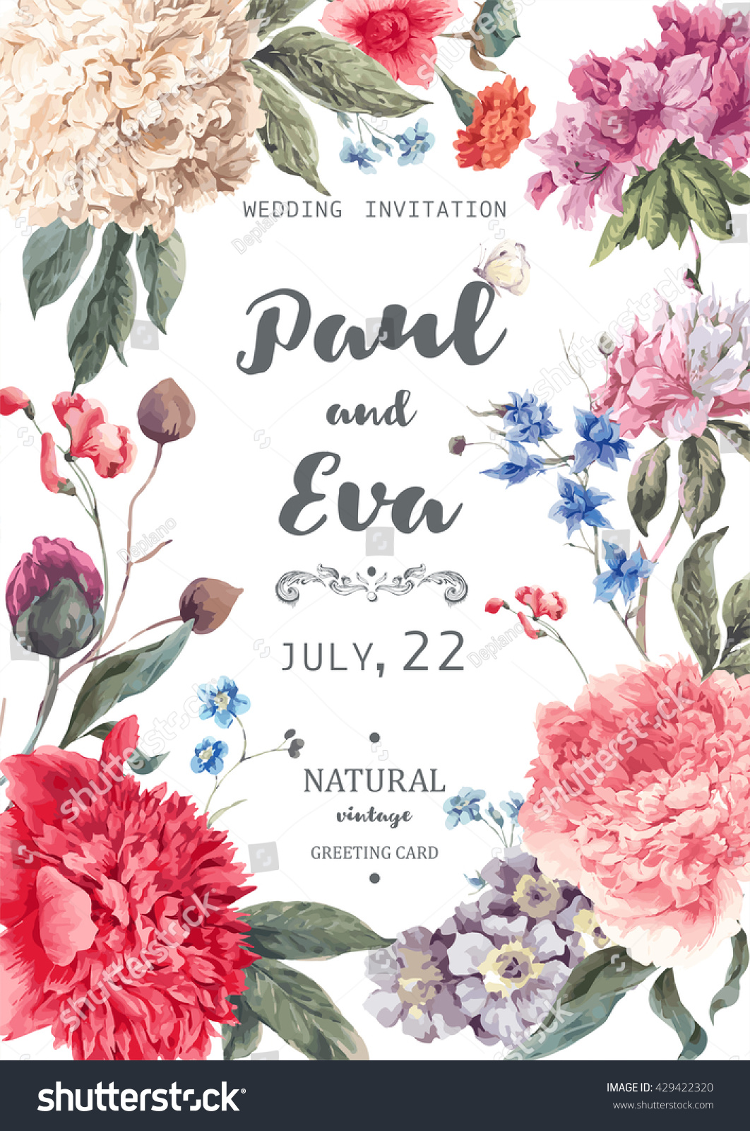Vintage Watercolor Floral Vector Wedding Invitation Stock Vector ...