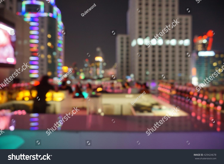 Blur Photo Rooftop Bar Bangkok Beautiful Stock Photo (Edit Now