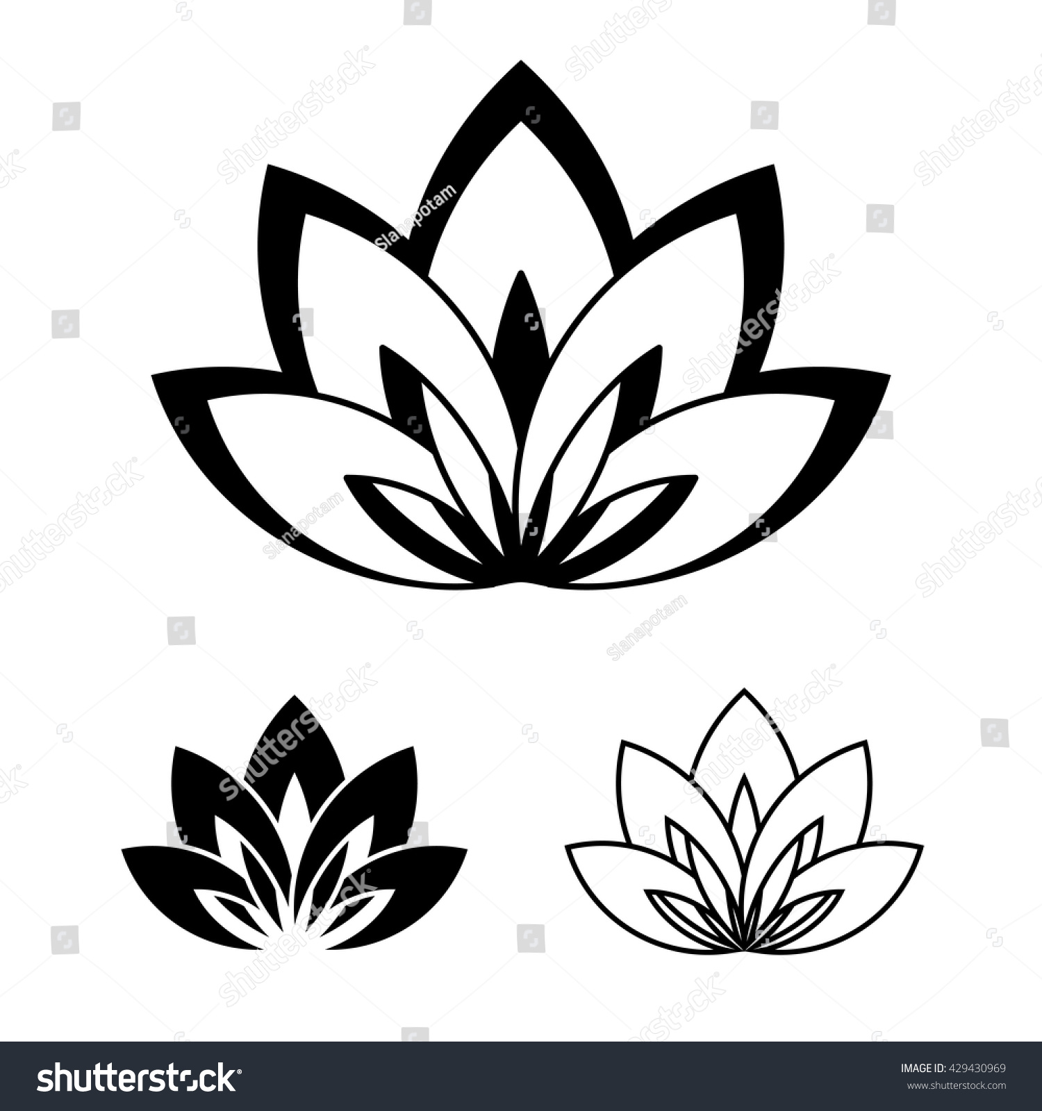 Yoga pattern background seamless pattern with five petals lotus flower - Five Petals Lotus Flower As Symbol Of Yoga Vector Illustration For Yoga Event