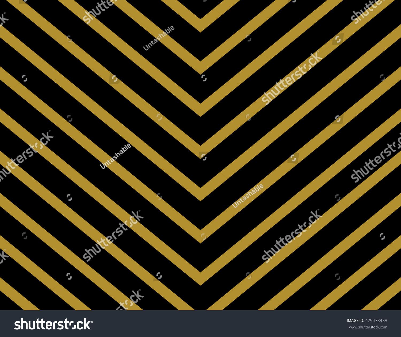 chevron pattern wallpaper design gold black stock vector 429433438