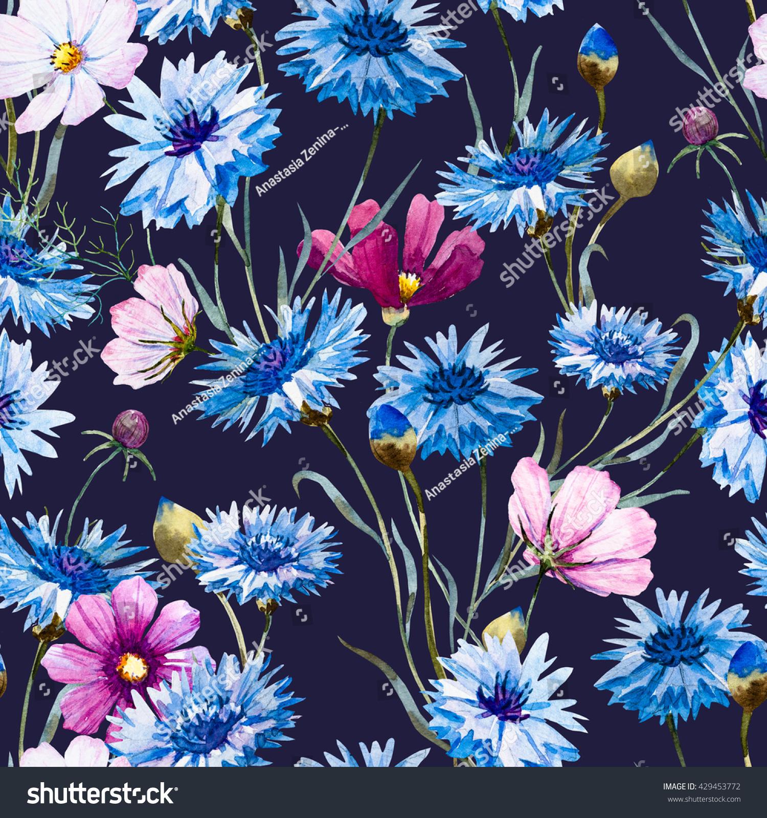 Watercolor Floral Pattern Blue Flower Cornflower Stock Illustration