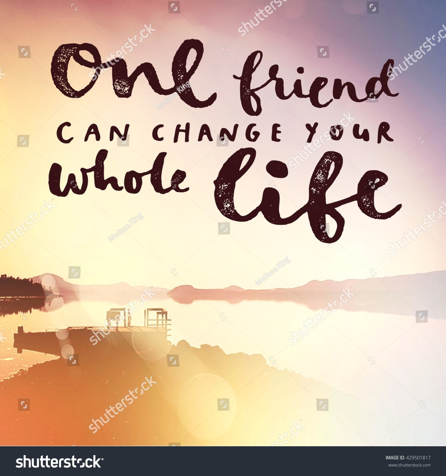 Whole Life Quote Prepossessing Inspirational Typographic Quote One Friend Can Stock Photo