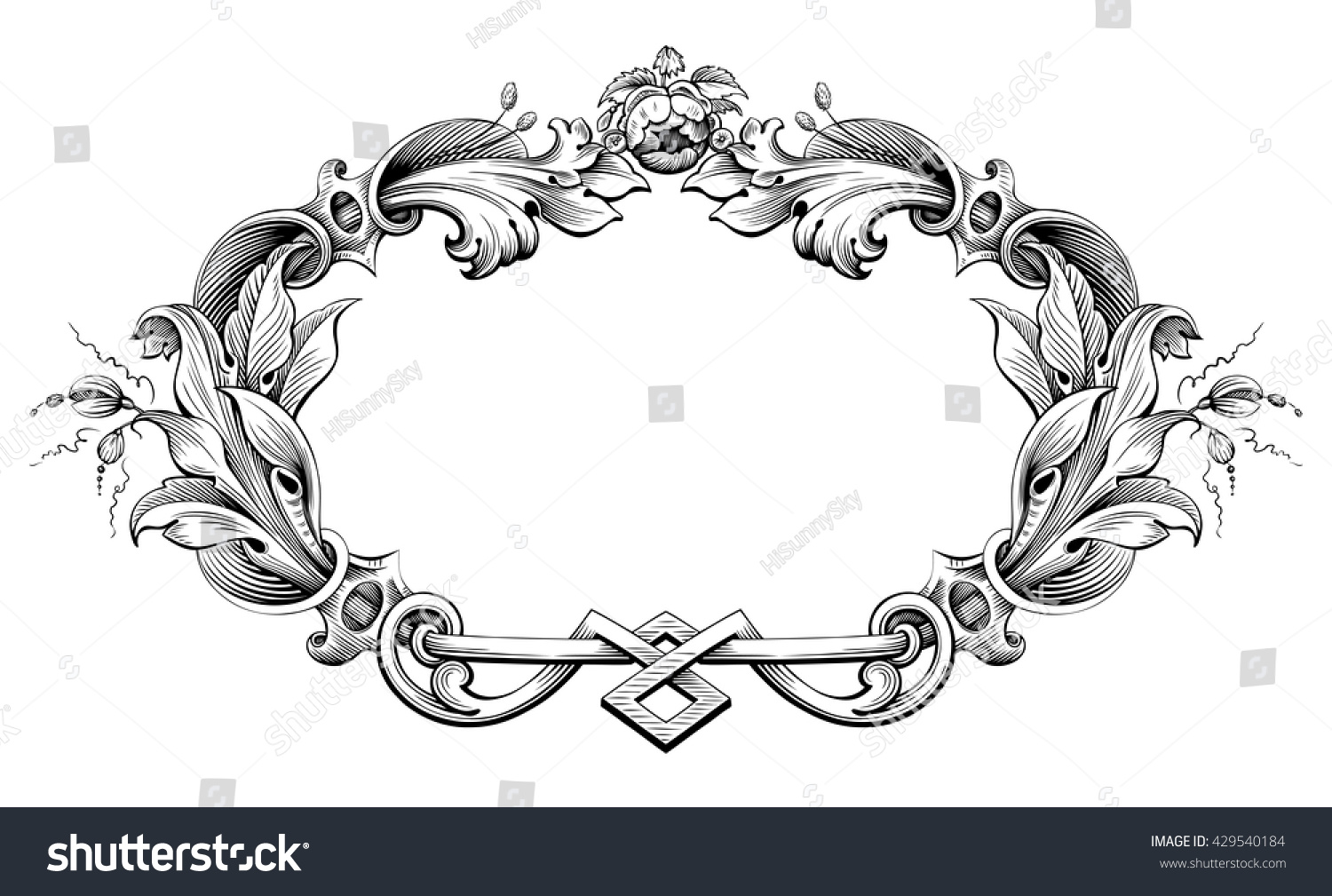 vintage baroque victorian frame border monogram floral ornament leaf scroll engraved retro flower pattern decorative design