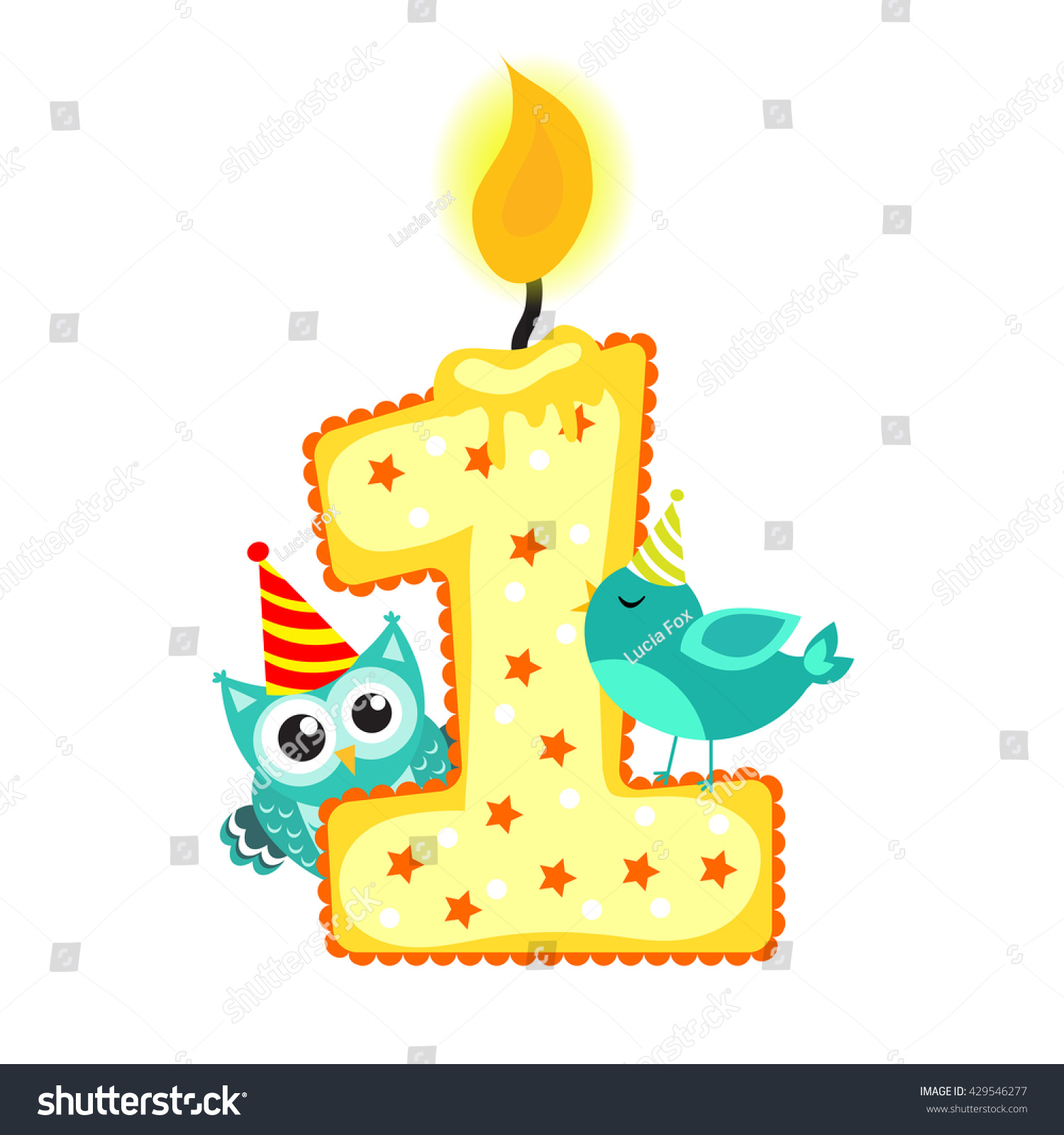 Happy First Birthday Candle Animals Isolated Stock Vector