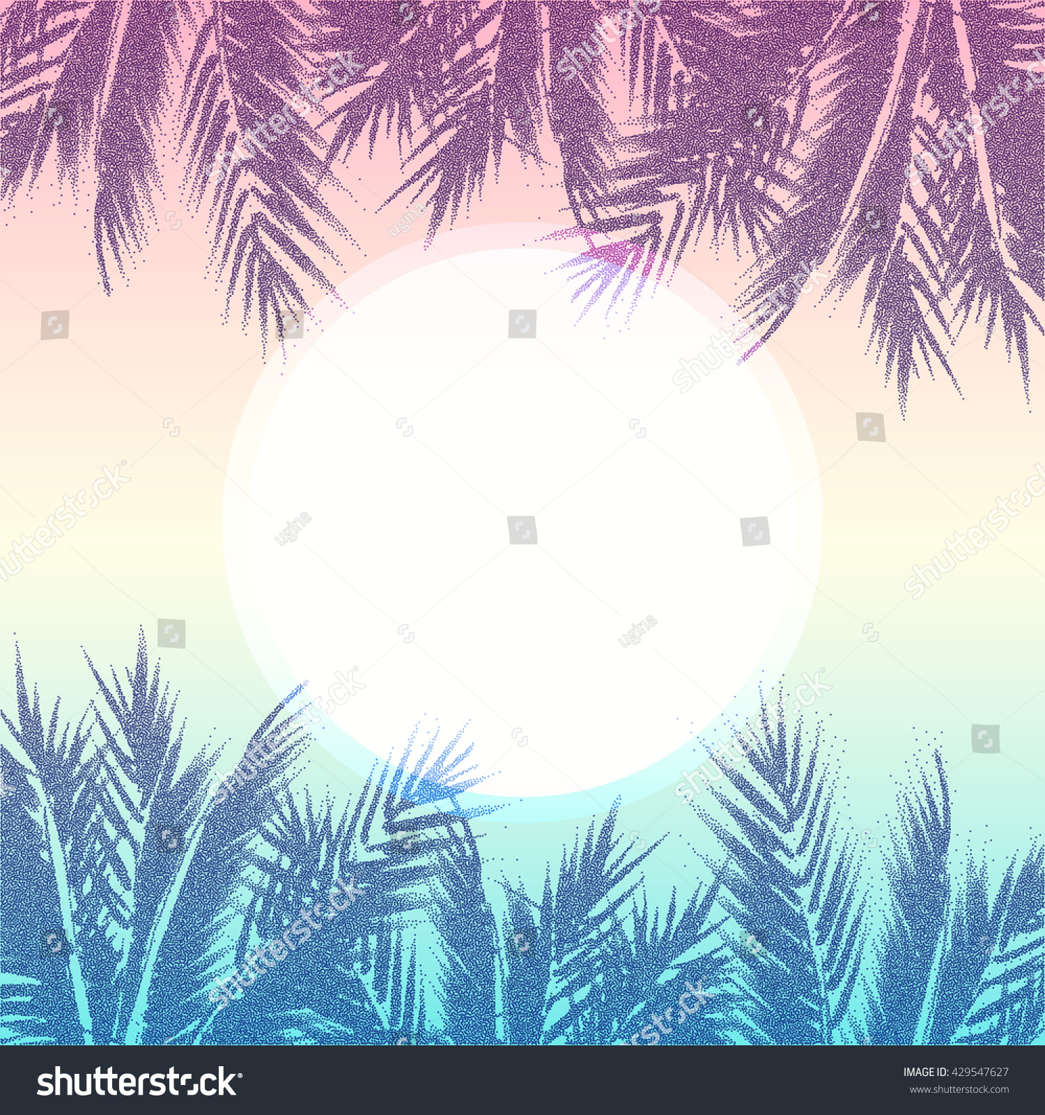 tropical paradise background palm tree leaves stock vector 429547627