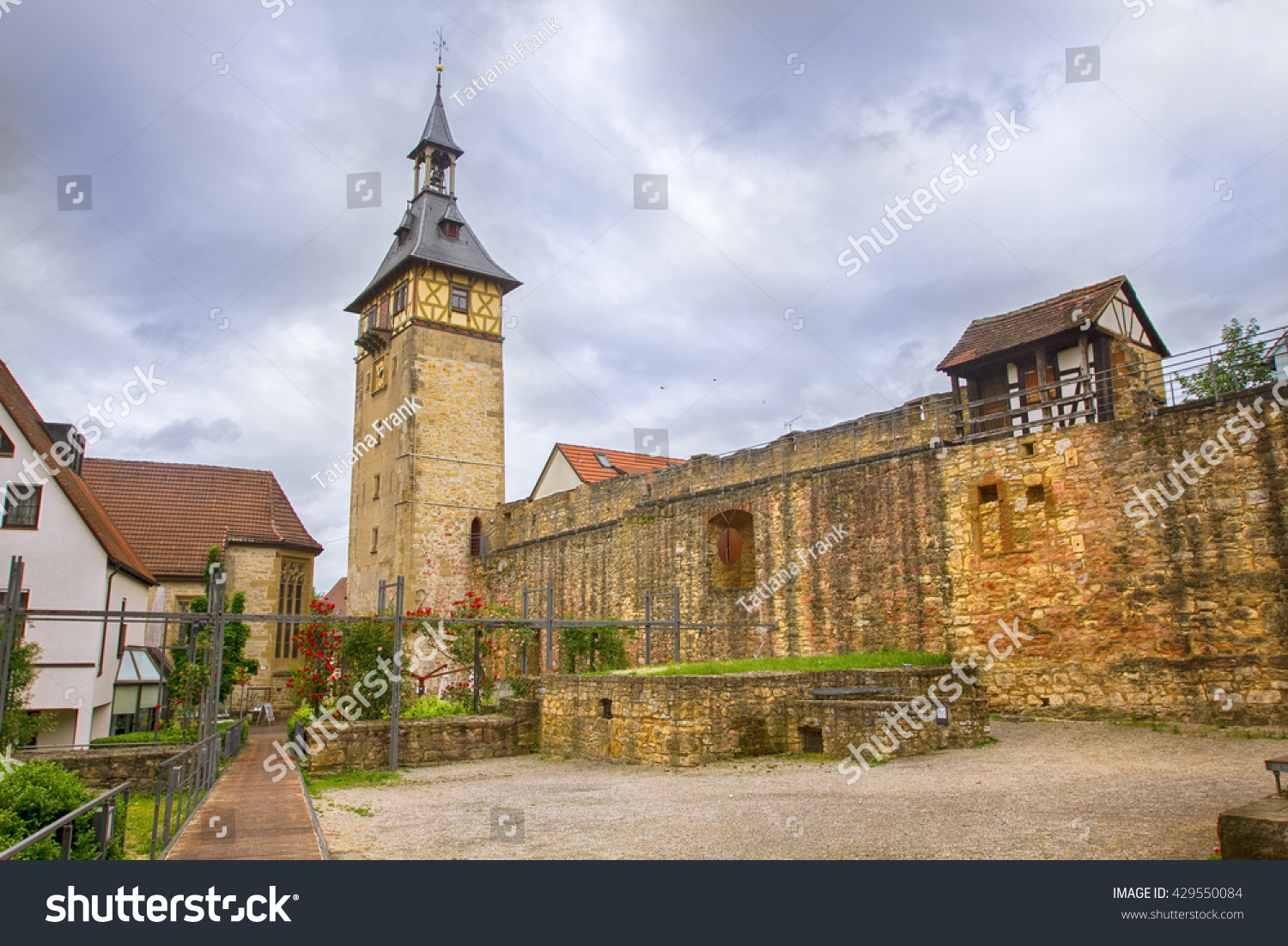 Medieval Tower Marbach Germany Stock Photo (Royalty Free) 429550084 ...