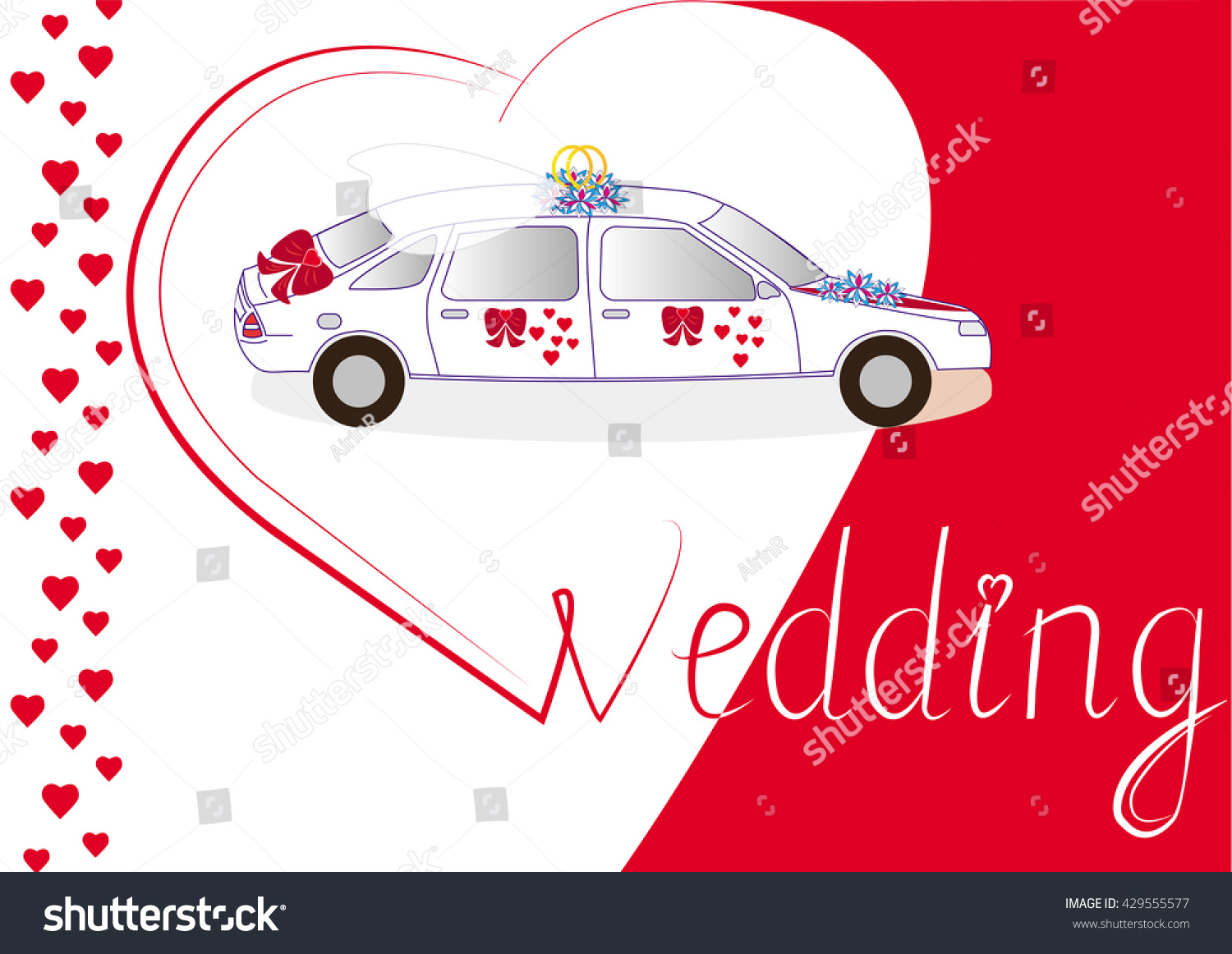 Wedding Car Wedding Invitation Card Album Stock Vector 429555577 ...