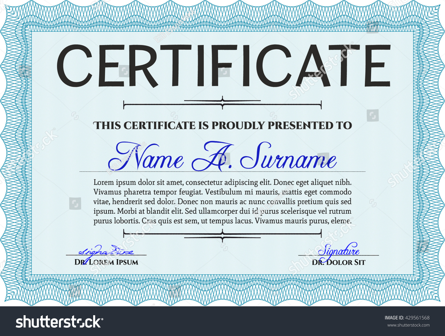 Light blue certificate template diploma template stock vector light blue certificate template or diploma template complex background vector pattern that is used xflitez Images