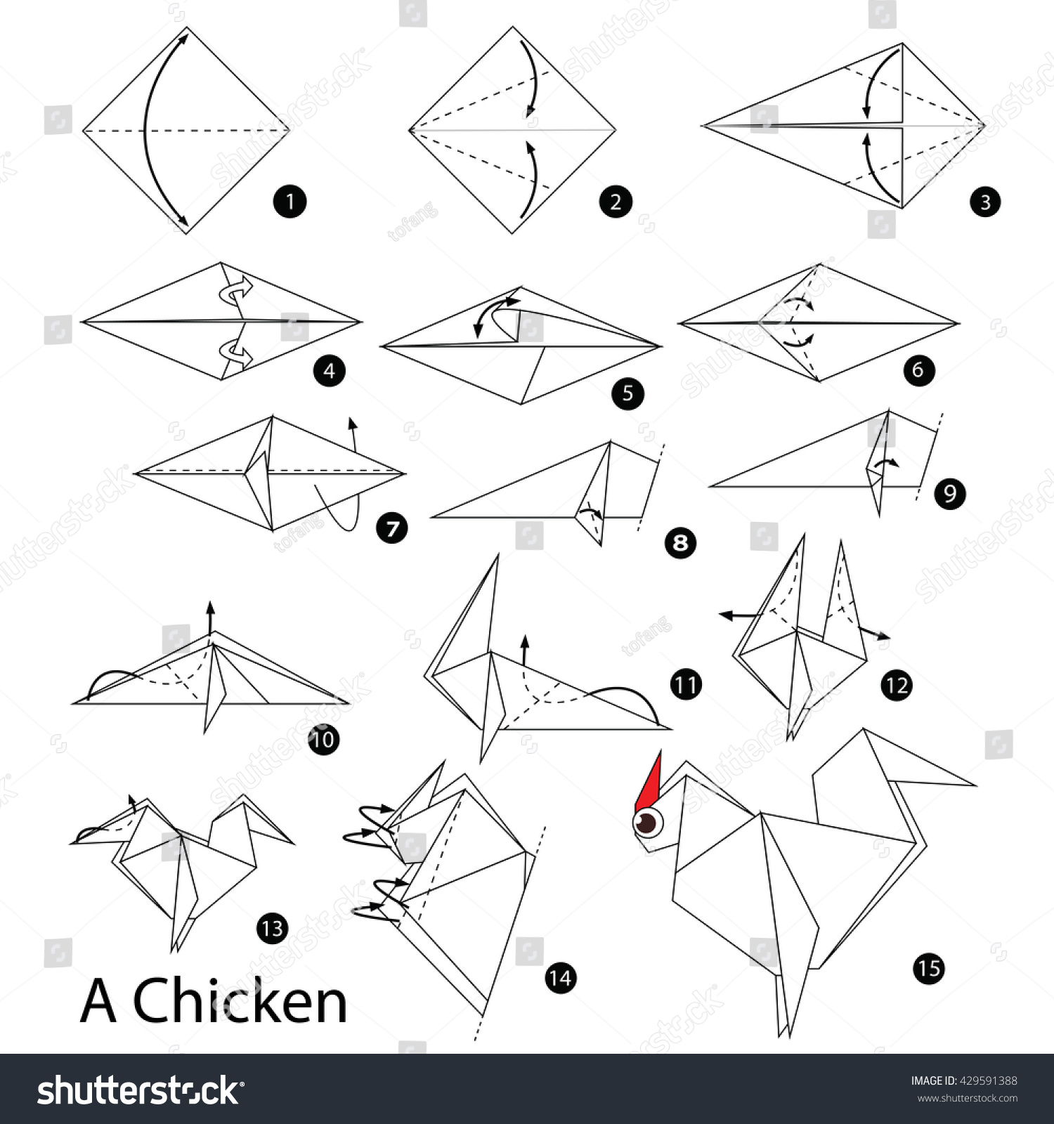 Step By Instructions How To Make Origami Chicken
