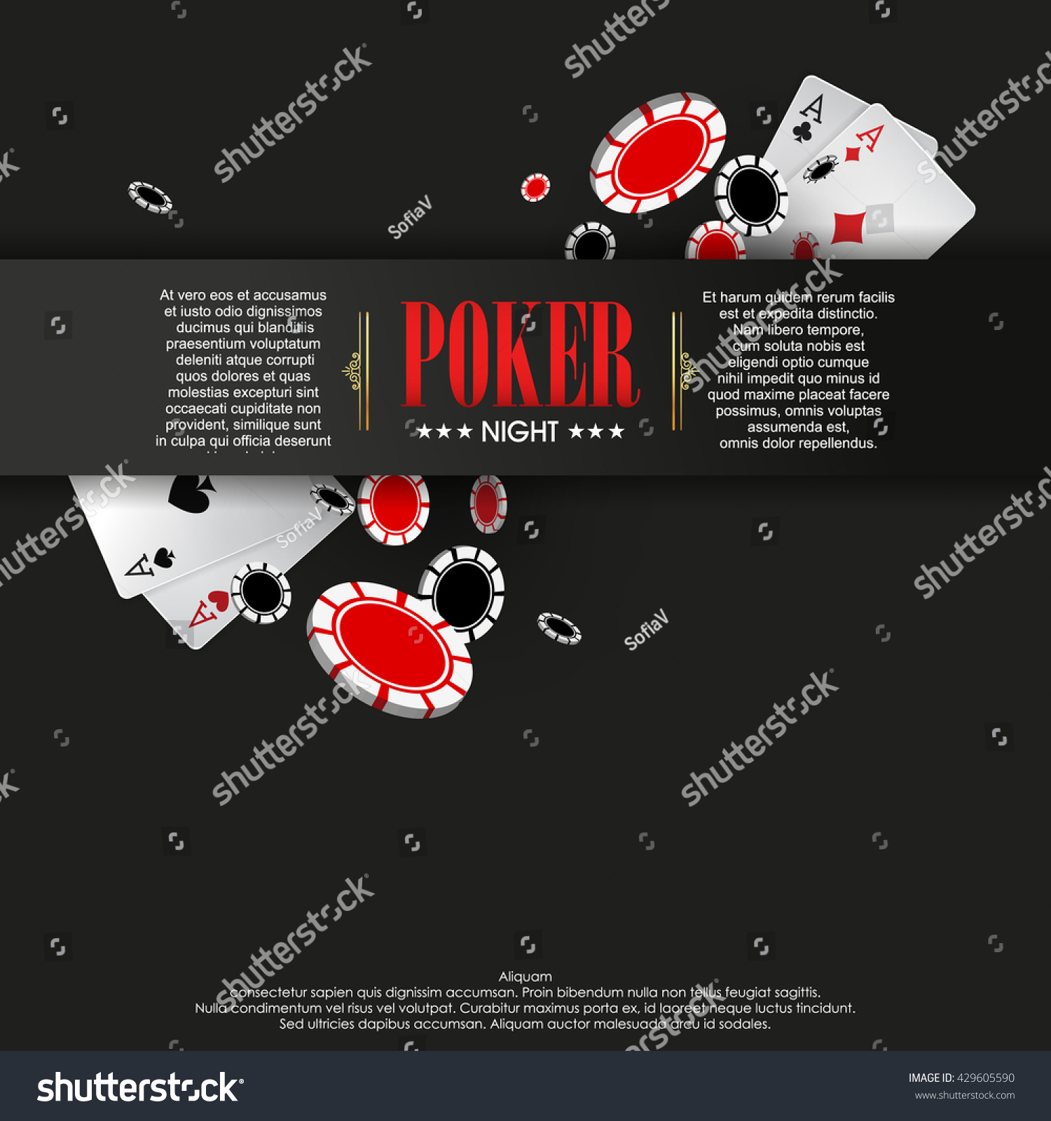 Casino Poster Banner Background Flyer Template Stock