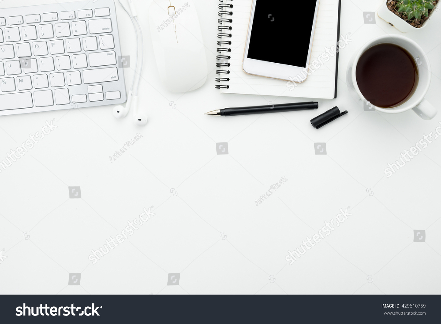 Contemporary Cappuccino Connect It Computer: Modern Office Desk Table With Computer… Stock Photo