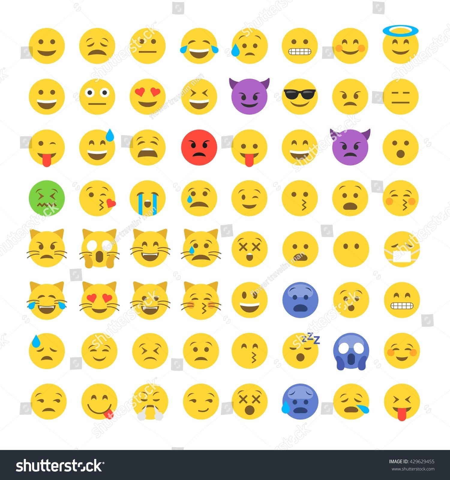 Abstract Funny Flat Style Emoji Emoticon Icon Set Stock Vector Illustration 4