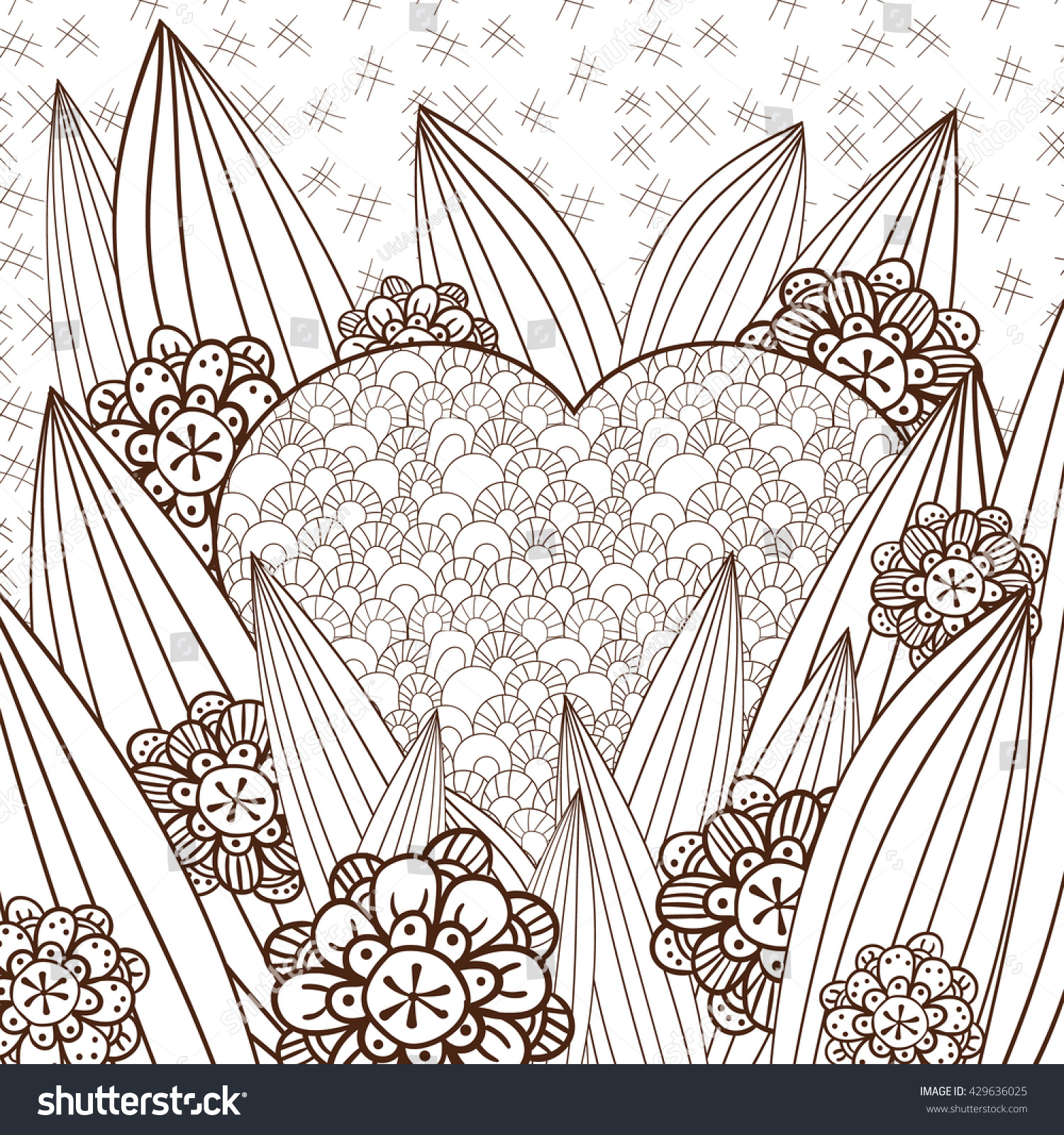coloring page cute heart magic stock vector 429636025