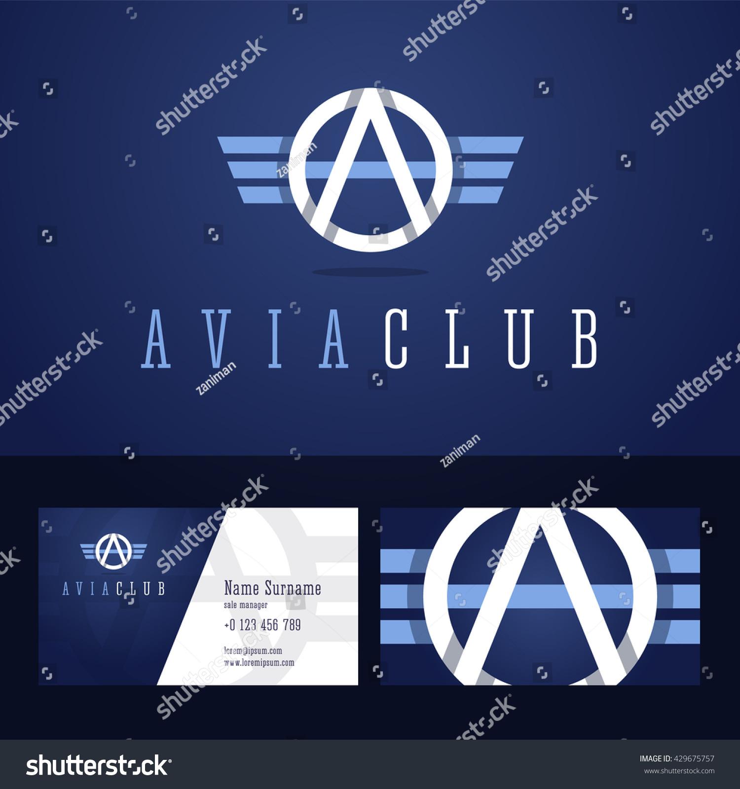avia club logo business card template stock vector