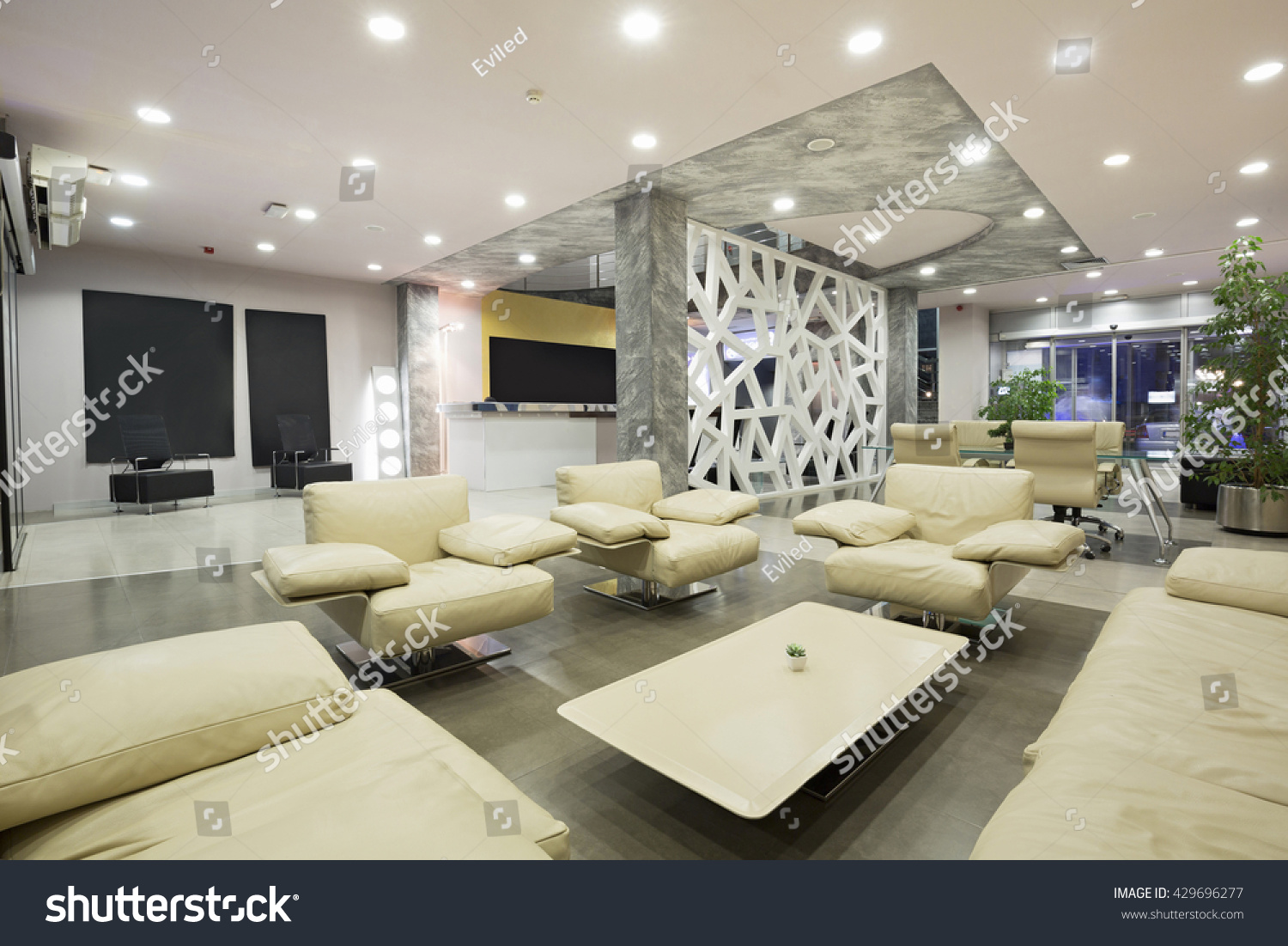 Modern hotel reception hall interior design stock photo