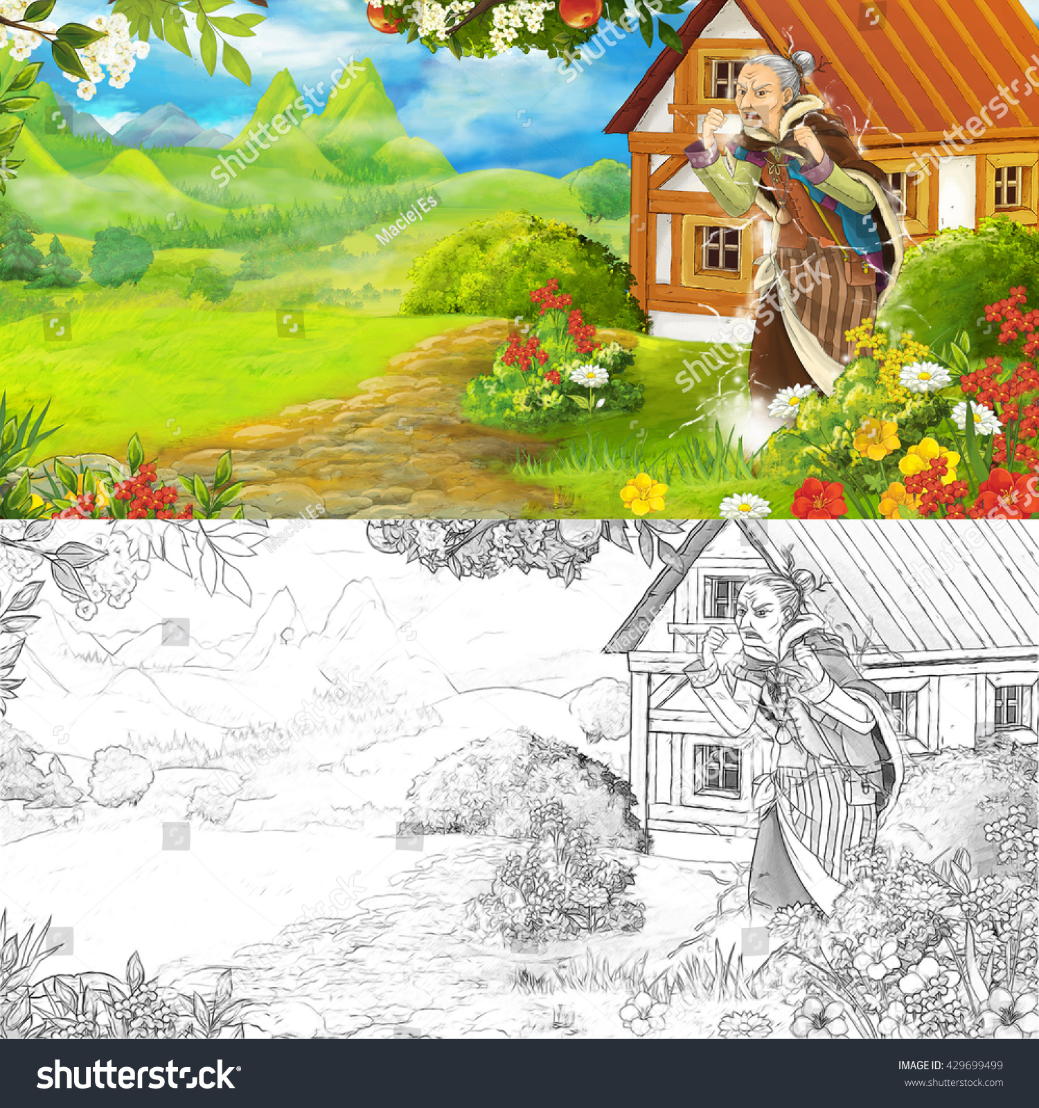 Cartoon farm scene - scary witch - with coloring page - illustration ...