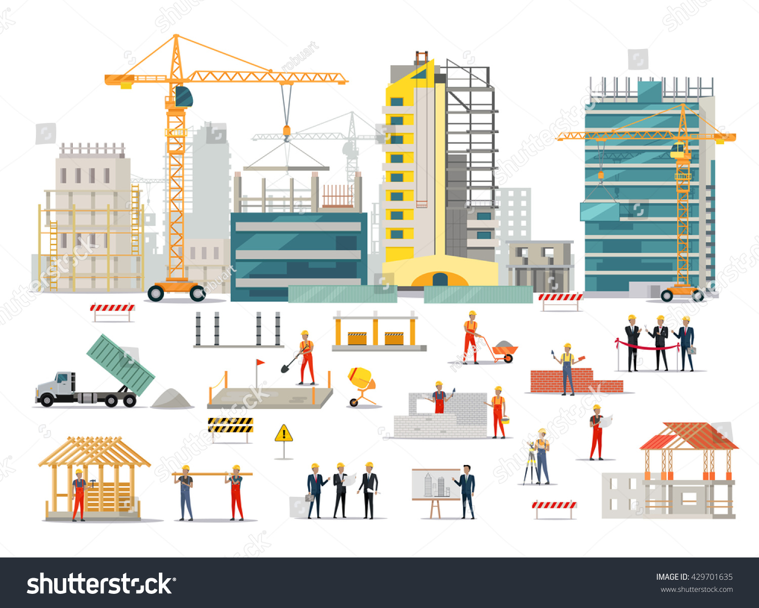 Process construction residential houses isolated big stock for Builders in my area