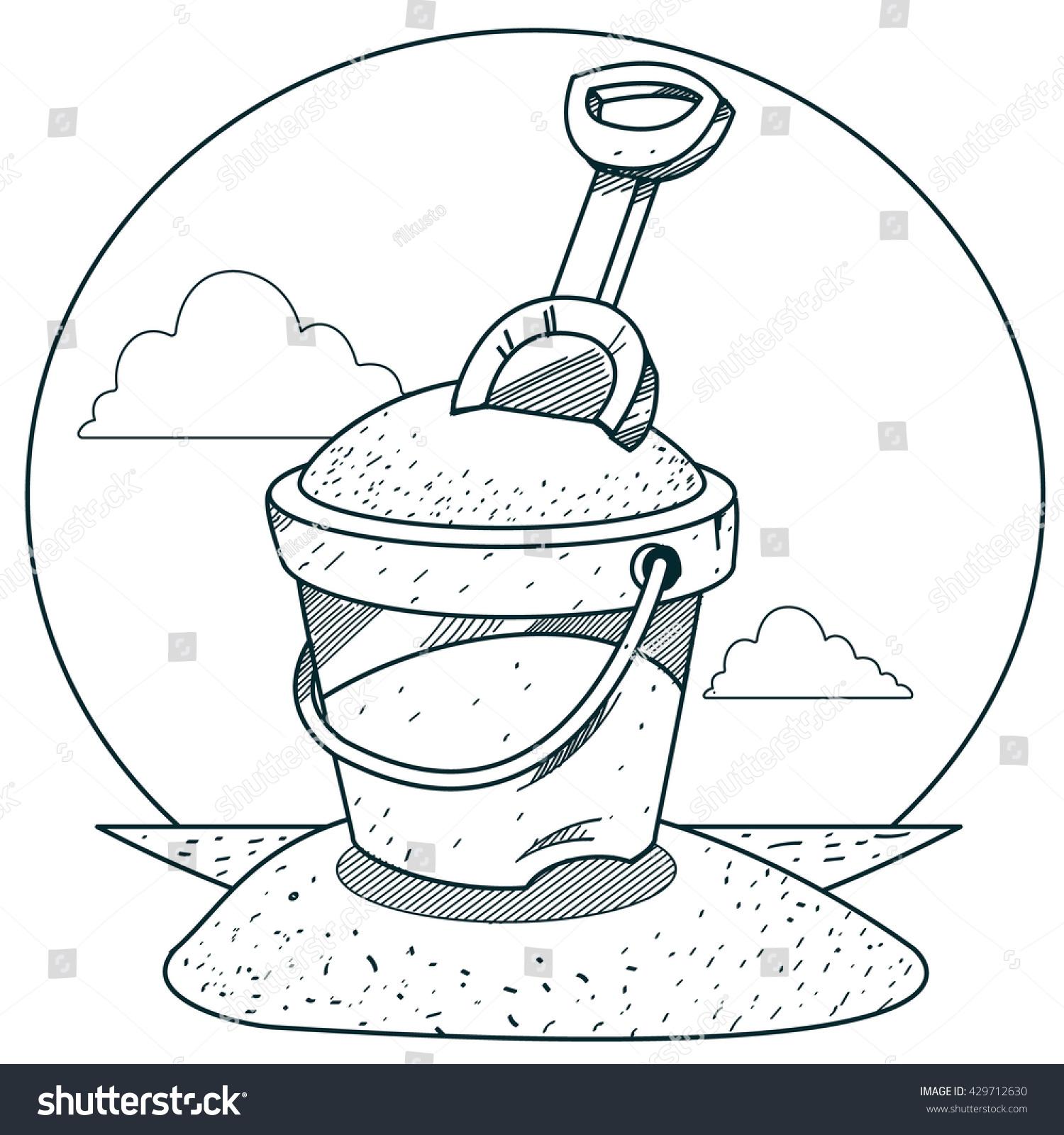 Toy Bucket Sand Rake Outline Drawings Stock Vector 429712630 ...