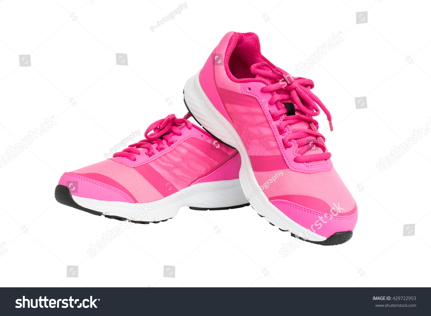 84bf99e80baca Pair Pink Sport Shoes Isolated On Stock Photo (Edit Now) 429722953 ...