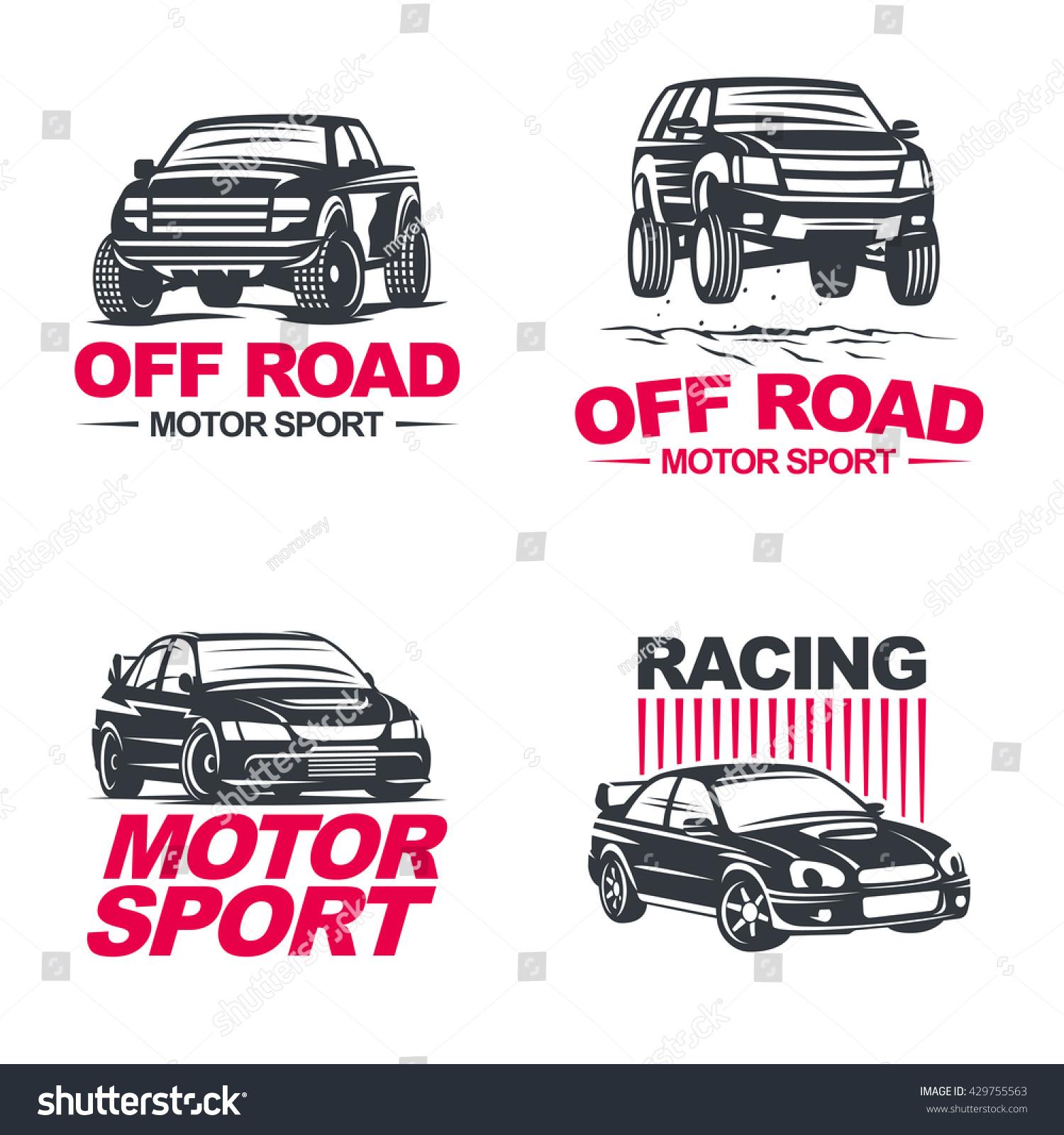 Set of four sport cars logo badge illustration on white background Drag racing Tuning Motor Sport EPS 10