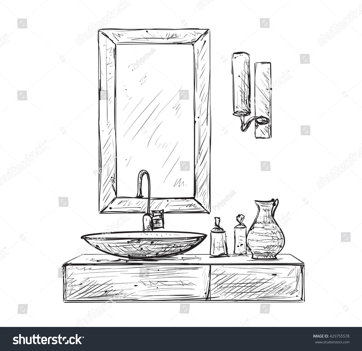 Hand Drawn Bathroom Interior Mirror Washbasin Stock Vector