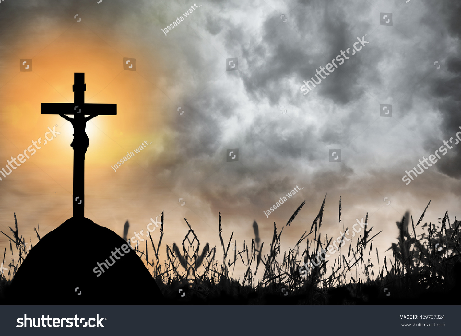 Silhouette of the holy cross on background of storm clouds stock - Silhouette Of The Holy Cross On Background Of Storm Clouds Stock Jpg 1500x1093 Storm And
