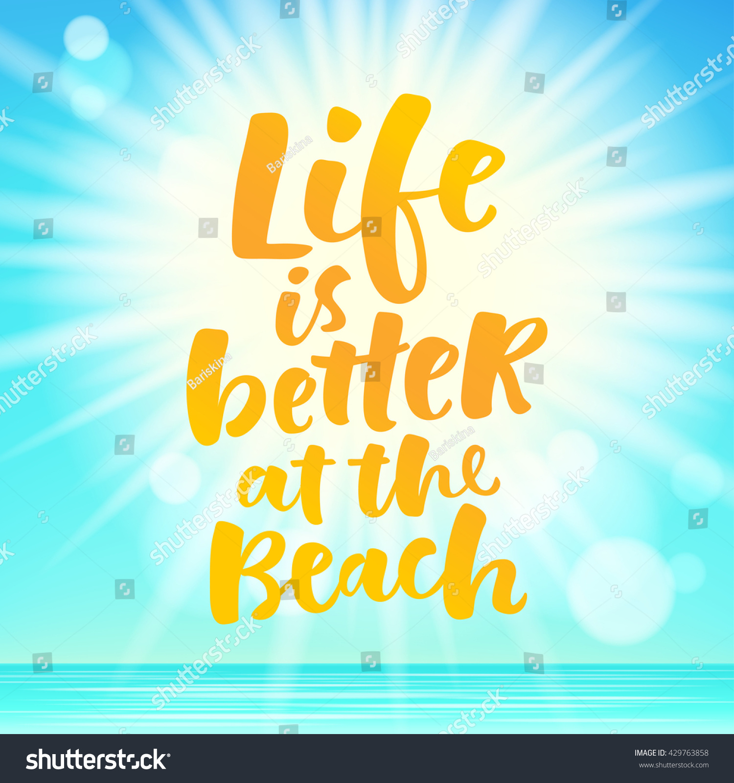 Life better beach lettering card hand stock vector 429763858 life is better at the beach lettering card hand drawn ink illustration phrase for prints kristyandbryce Gallery