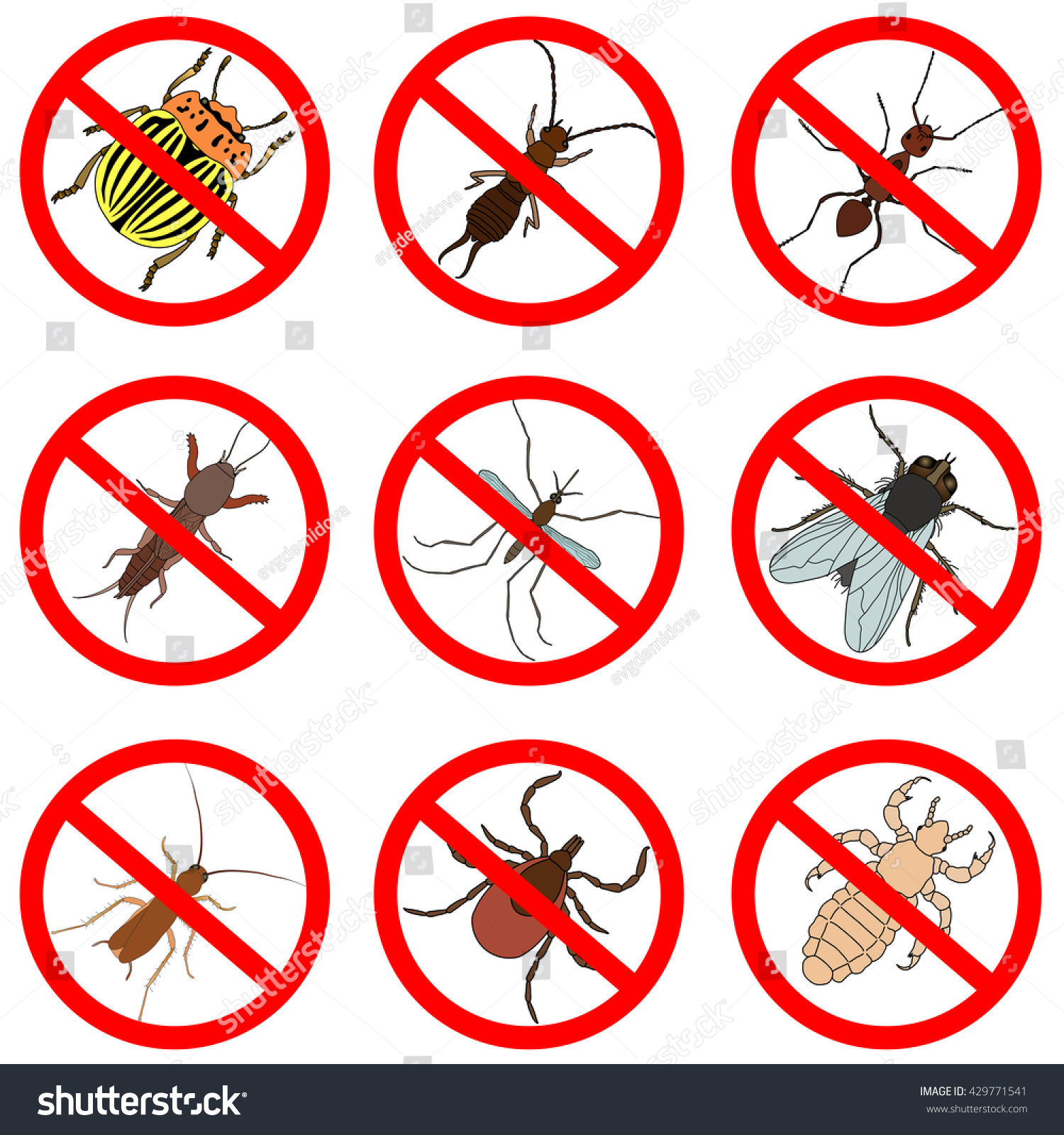 pest insect control icons set tick stock vector 429771541