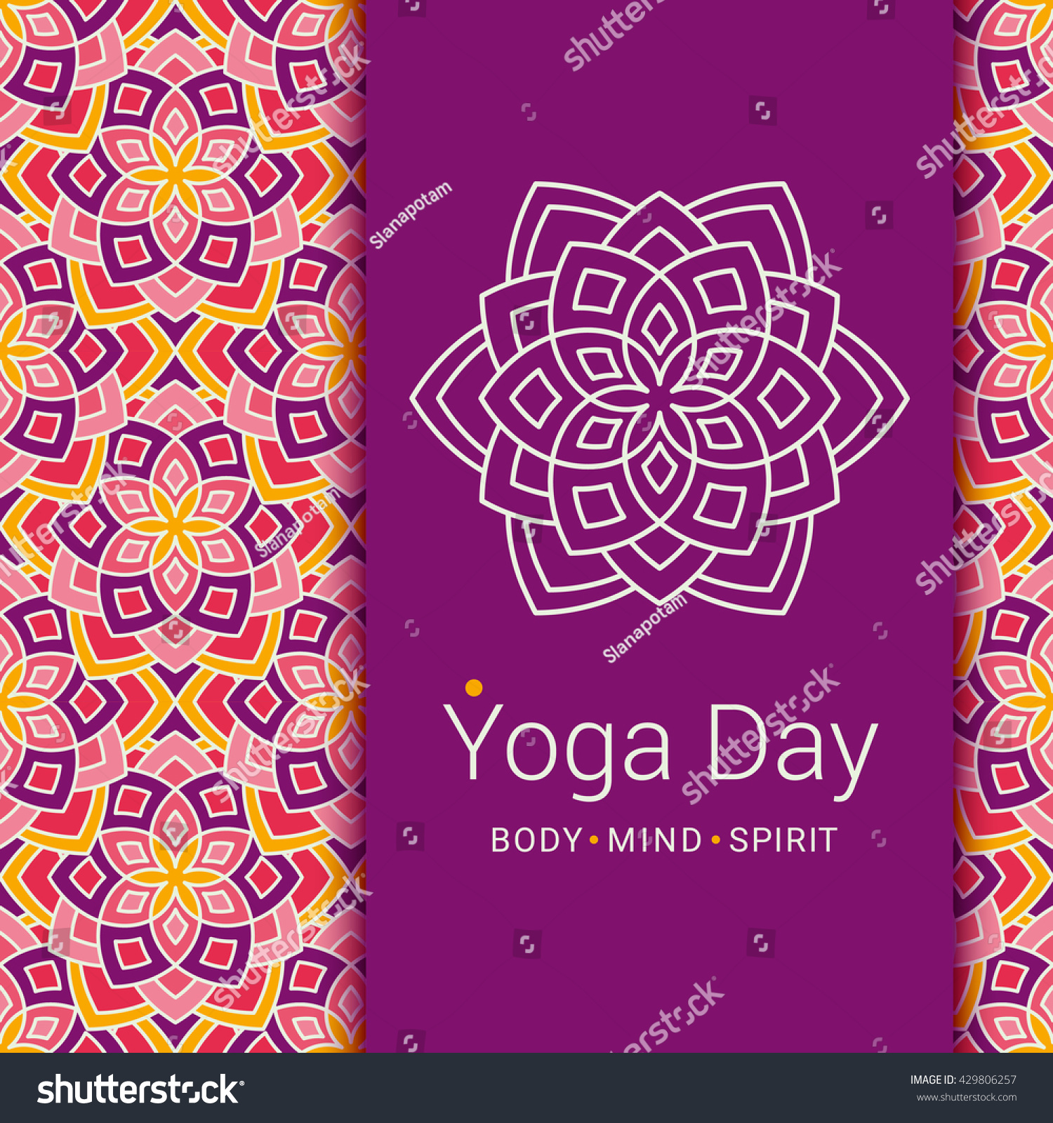 Yoga pattern background seamless pattern with five petals lotus flower - Bright Card With Lotus Flower Sample Text Yoga Day Body And Mind And