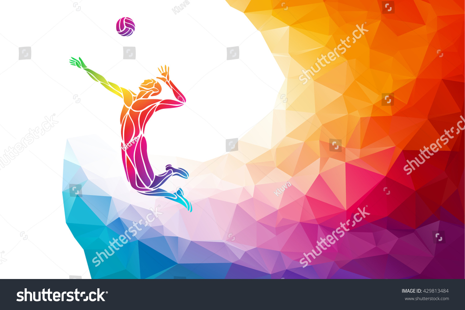 Illustration Abstract Volleyball Player Silhouette: Creative Silhouette Volleyball Player Team Sport Stock