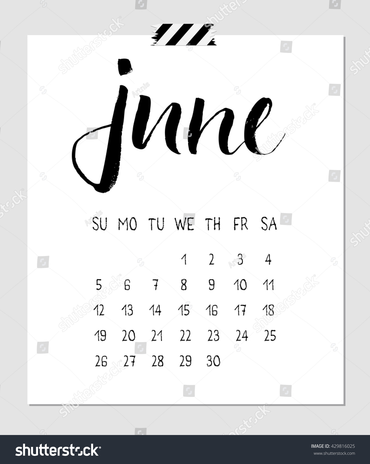 Calendar June 2016 Calligraphy Brush Lettering Stock Vector (2018 ...
