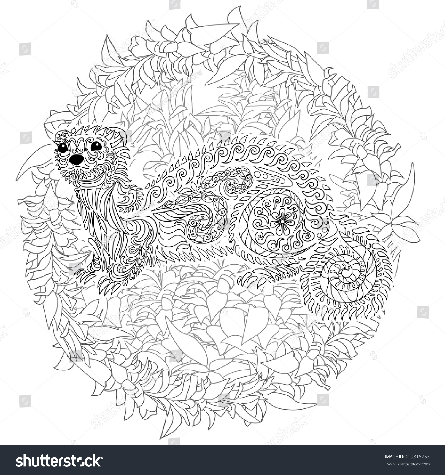 Uncategorized Ferret Coloring Pages hand drawn ferret zen tangle style stock vector 429816763 in with high details coloring page for anti