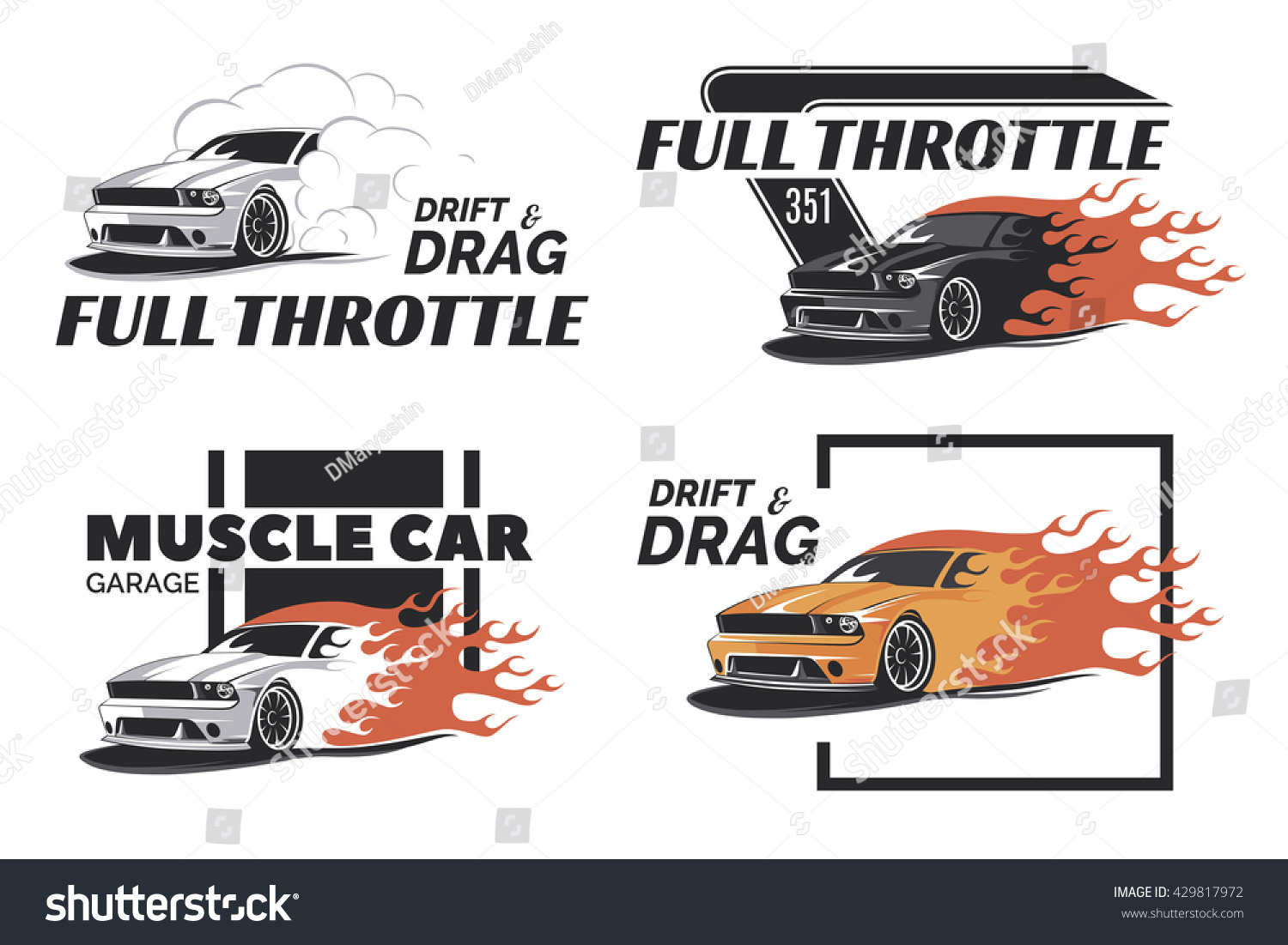 Set Muscle Car Logo Badges Emblems Stock Vector - Muscle car repair