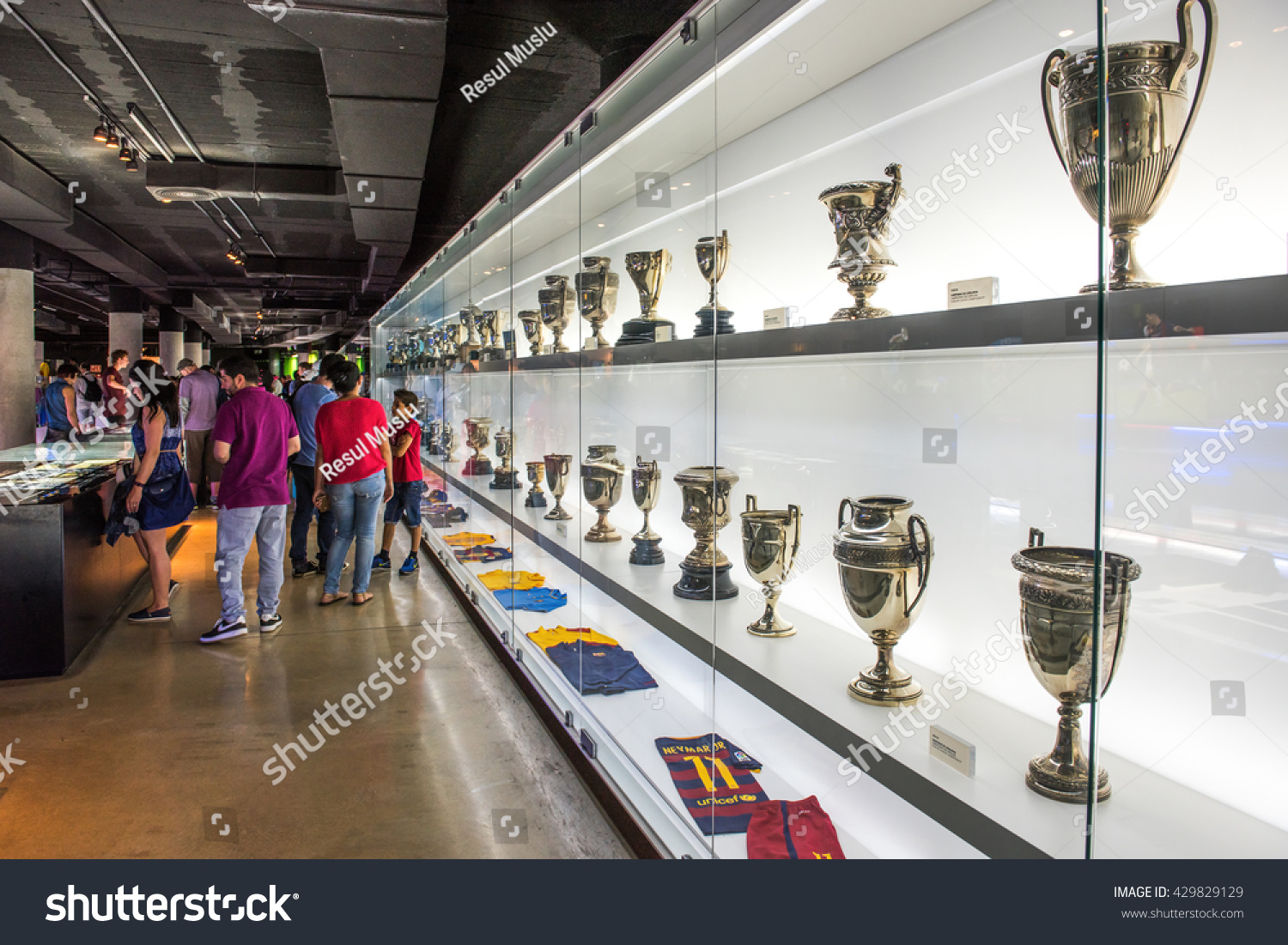 BARCELONA SPAIN MAY 28 2016 FC Barcelona Museum in Camp Nou Studium The museum occupies 3 500 square meters and attracts 1.2 million visitors a year