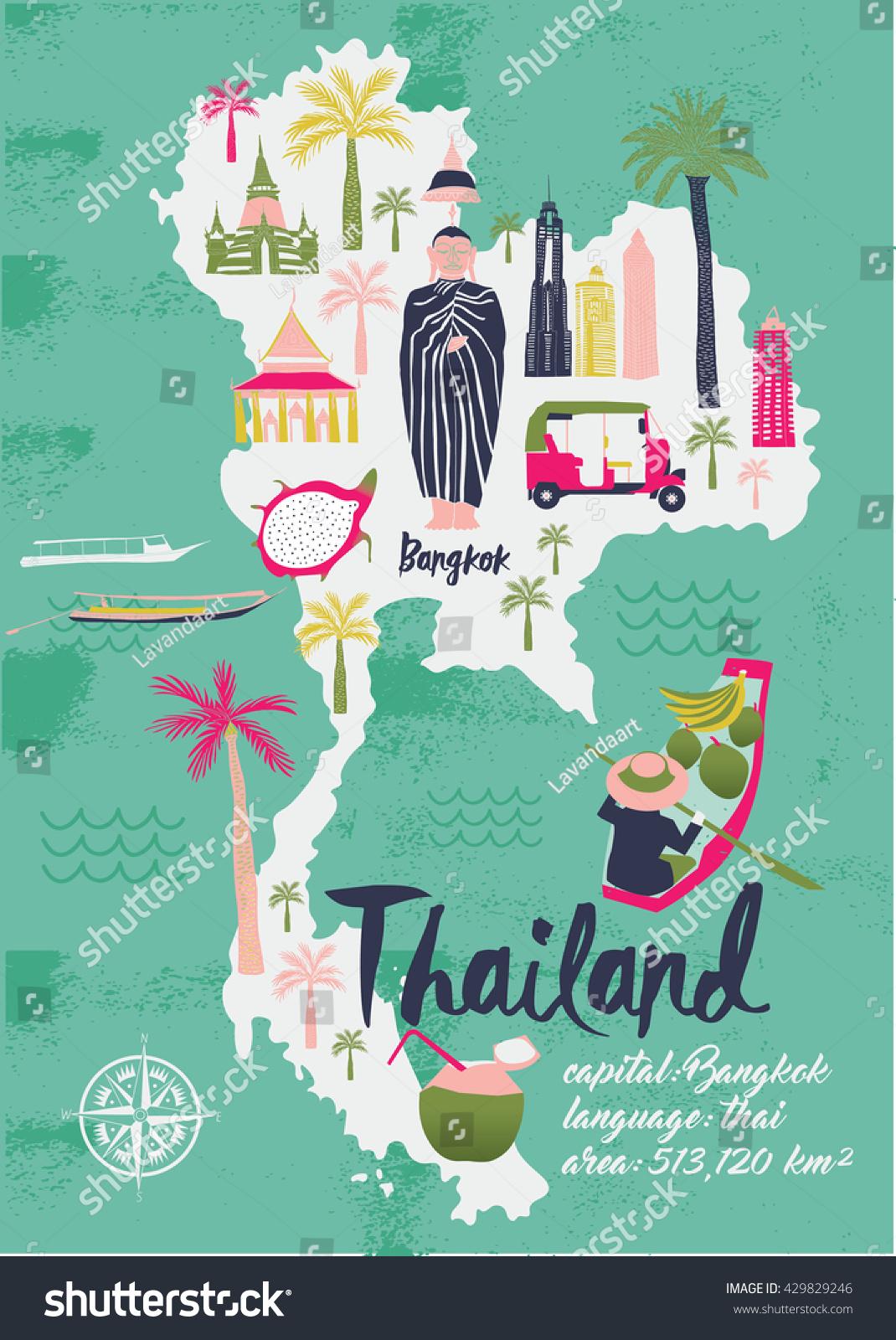 Cartoon Map Thailand Print Design Stock Vector - Map of thailand