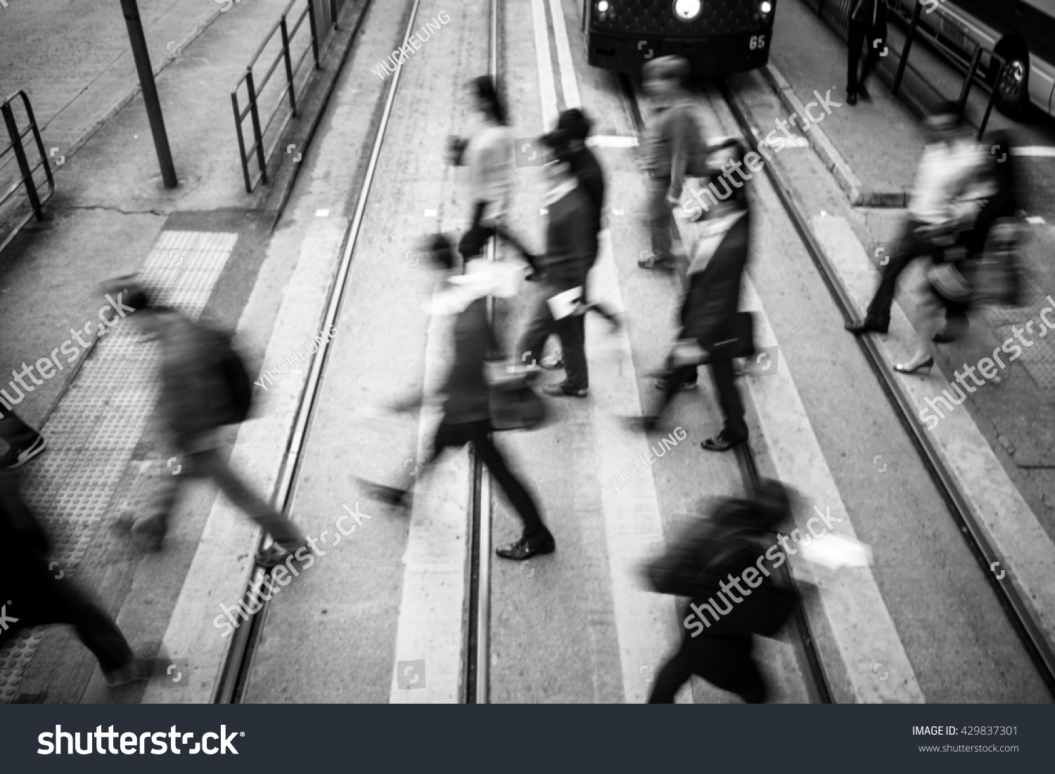 abstract city people background black white stock photo (edit now