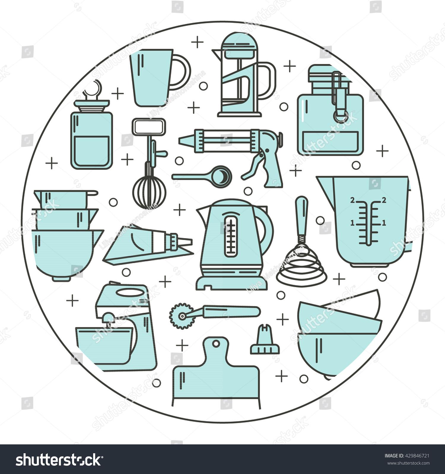 Set Kitchen Utensils Items Baking Cookware Stock Vector 429846721 ...