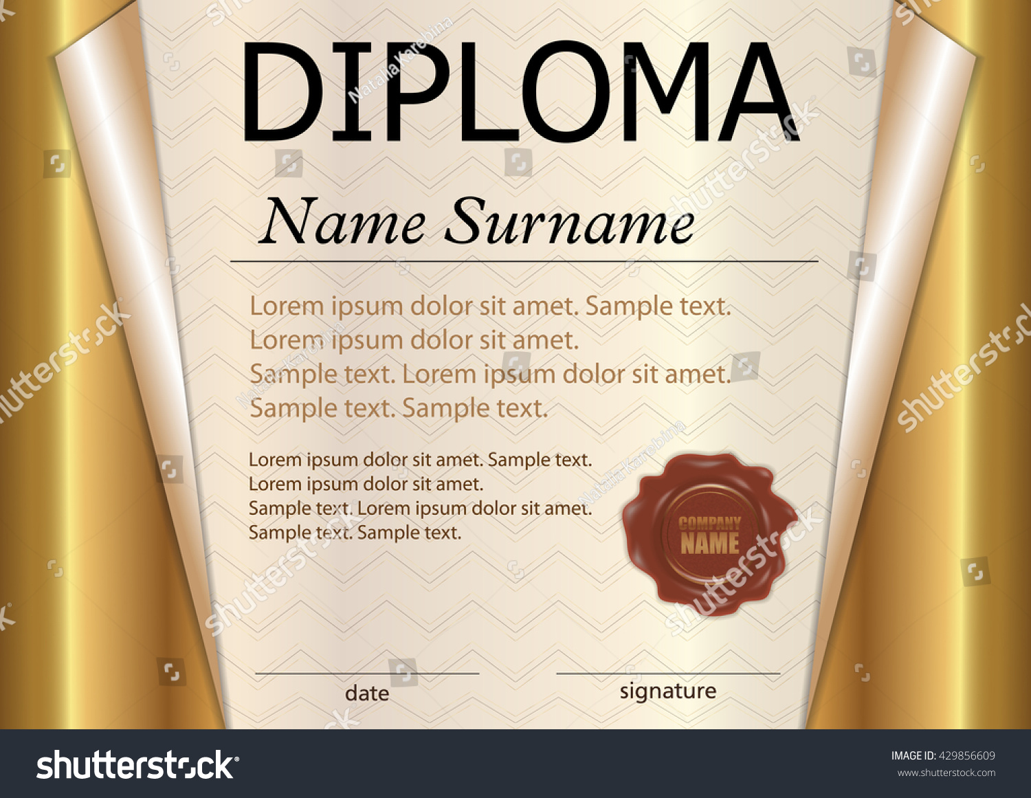 Diploma certificate template award winner winning stock vector diploma or certificate template award winner winning the competition reward gold curled xflitez Image collections