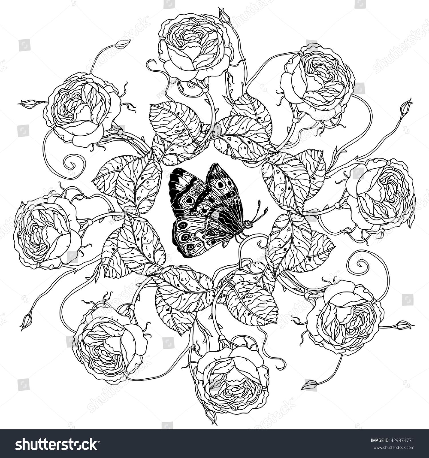 Luxury Flowers Bouquet Shape Mandala Adult Stock Vector 429874771 ...
