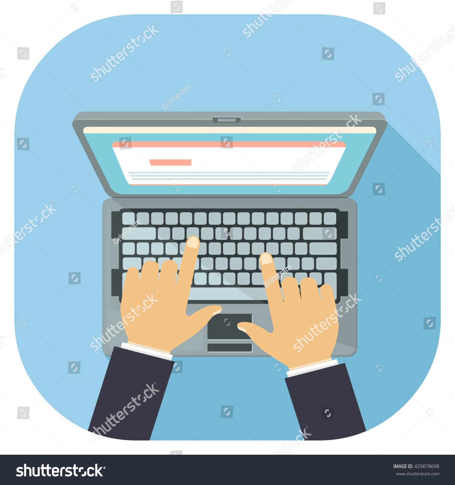 Laptop Personal Computer Displaying Website Work Stock Vector