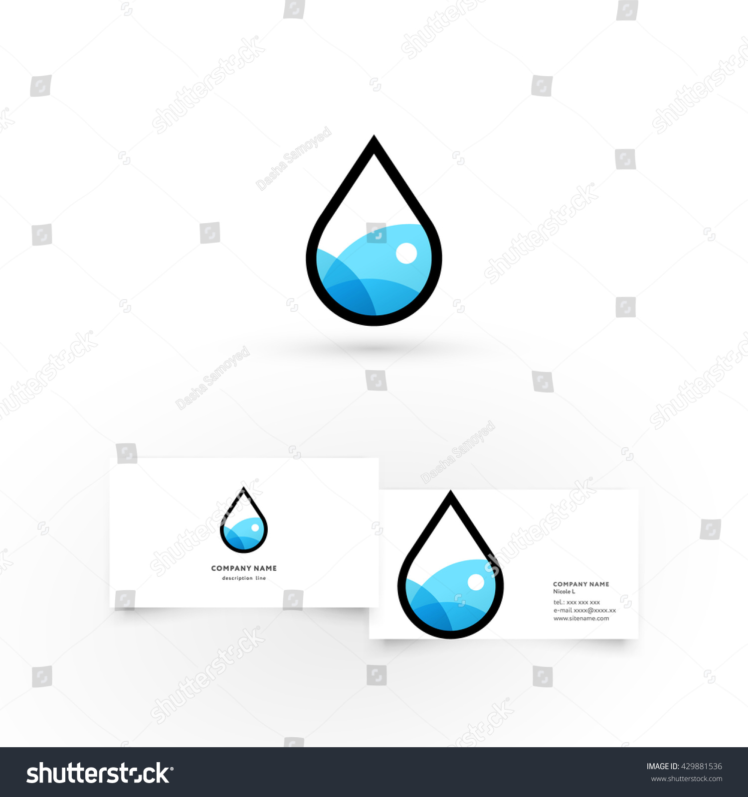 Water dropmodern icon design logo element stock vector 429881536 water dropdern icon design logo element with business card template best for identity magicingreecefo Image collections